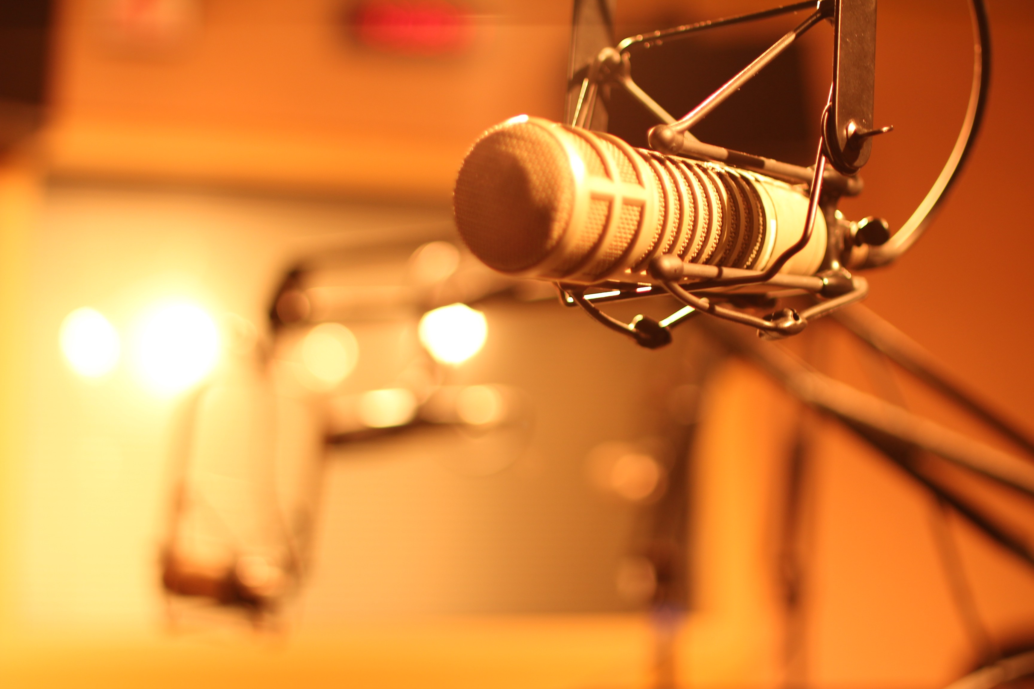 Podcast microphone in a recording studio.