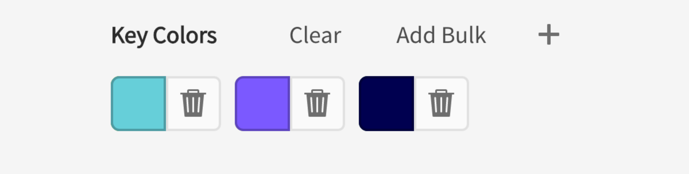 Input for key colors. Options clear, add bulk, add. Delete buttons next to key colors teal, purple, deep purple