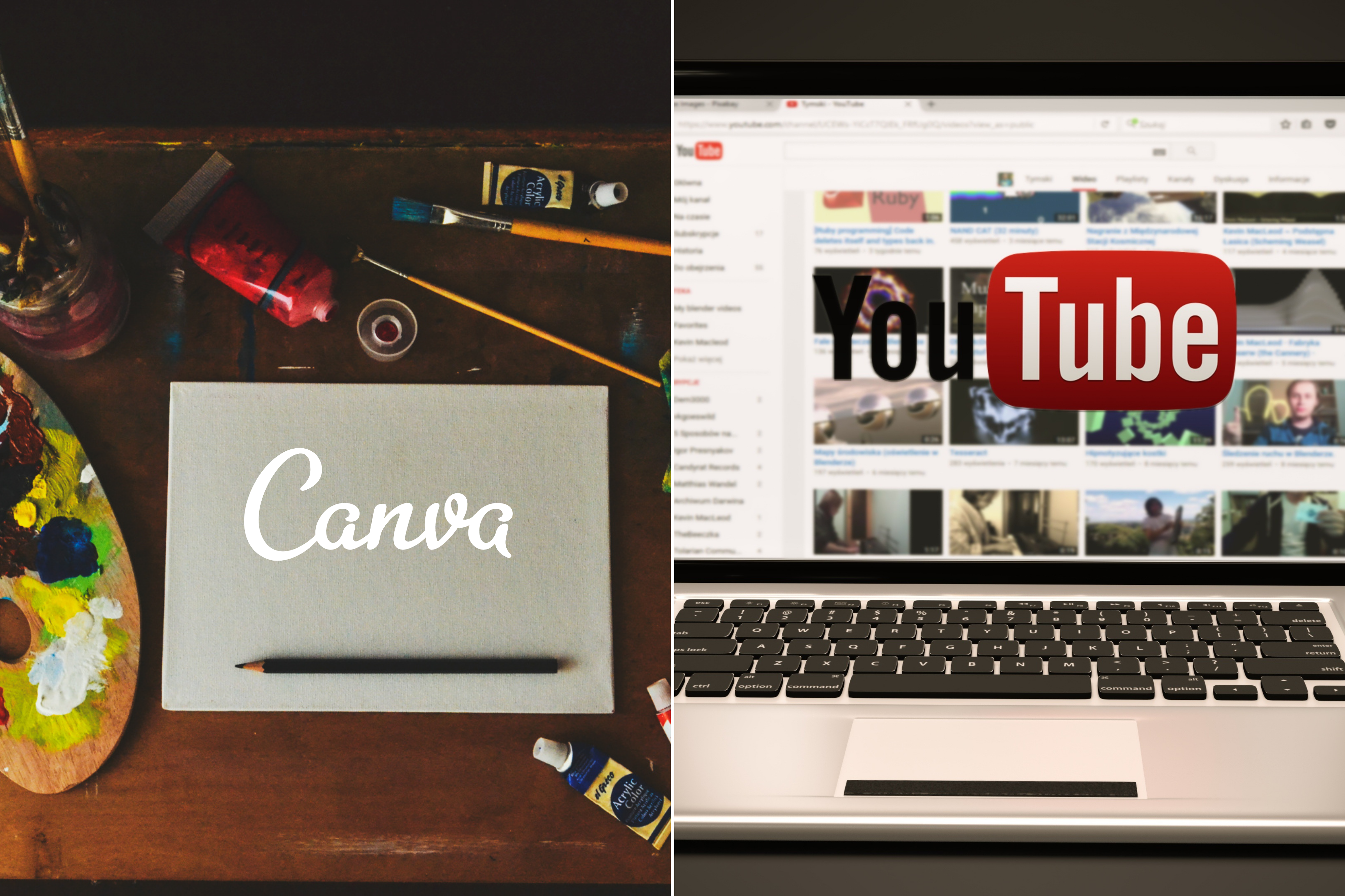 A canvas and an Apple laptop with the word YouTube shown side by side.