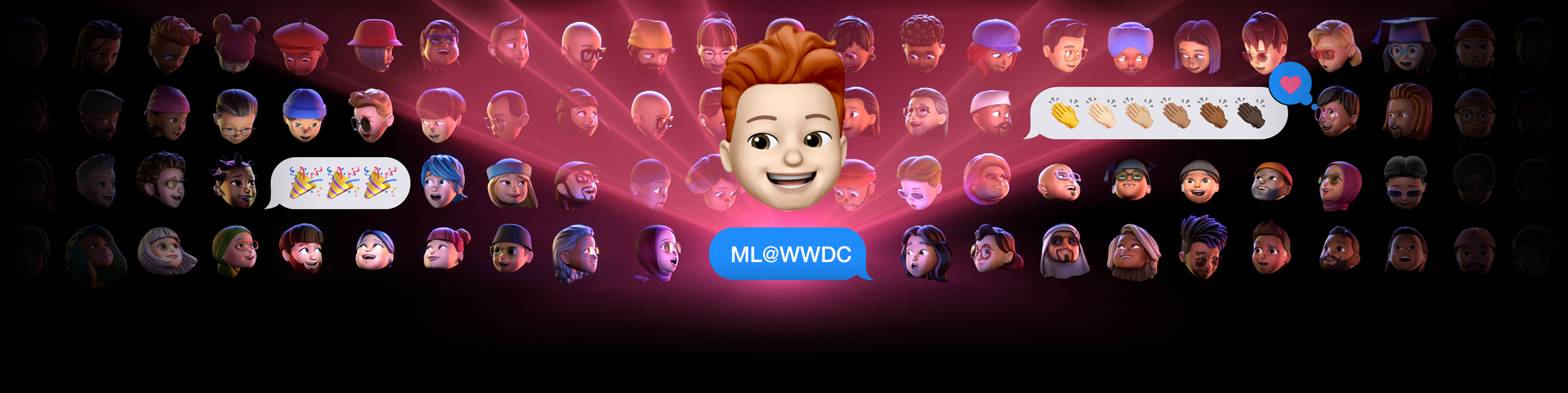 My memoji sits on the WWDC 2021 banner with an iMessage bubble reading ML@WWDC