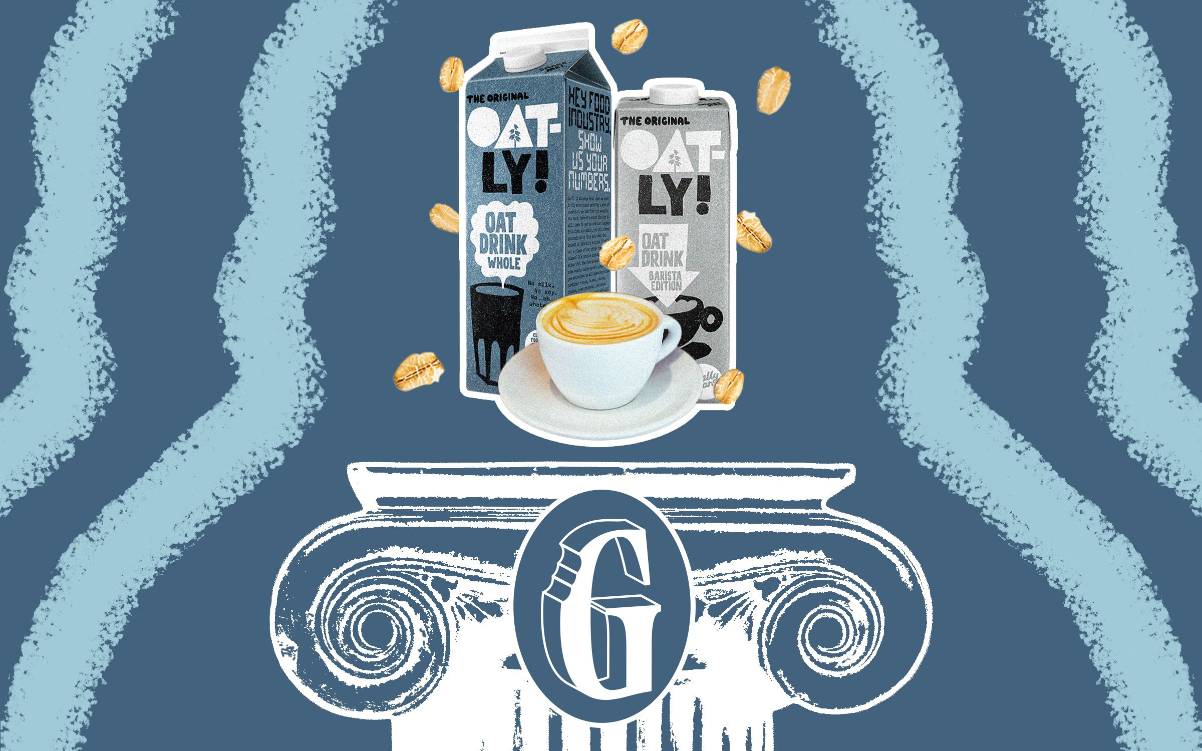 "Two cartons of Oatly milk and a cup of cappuccino floating above a pedestal with the letter ""G"" engraved."