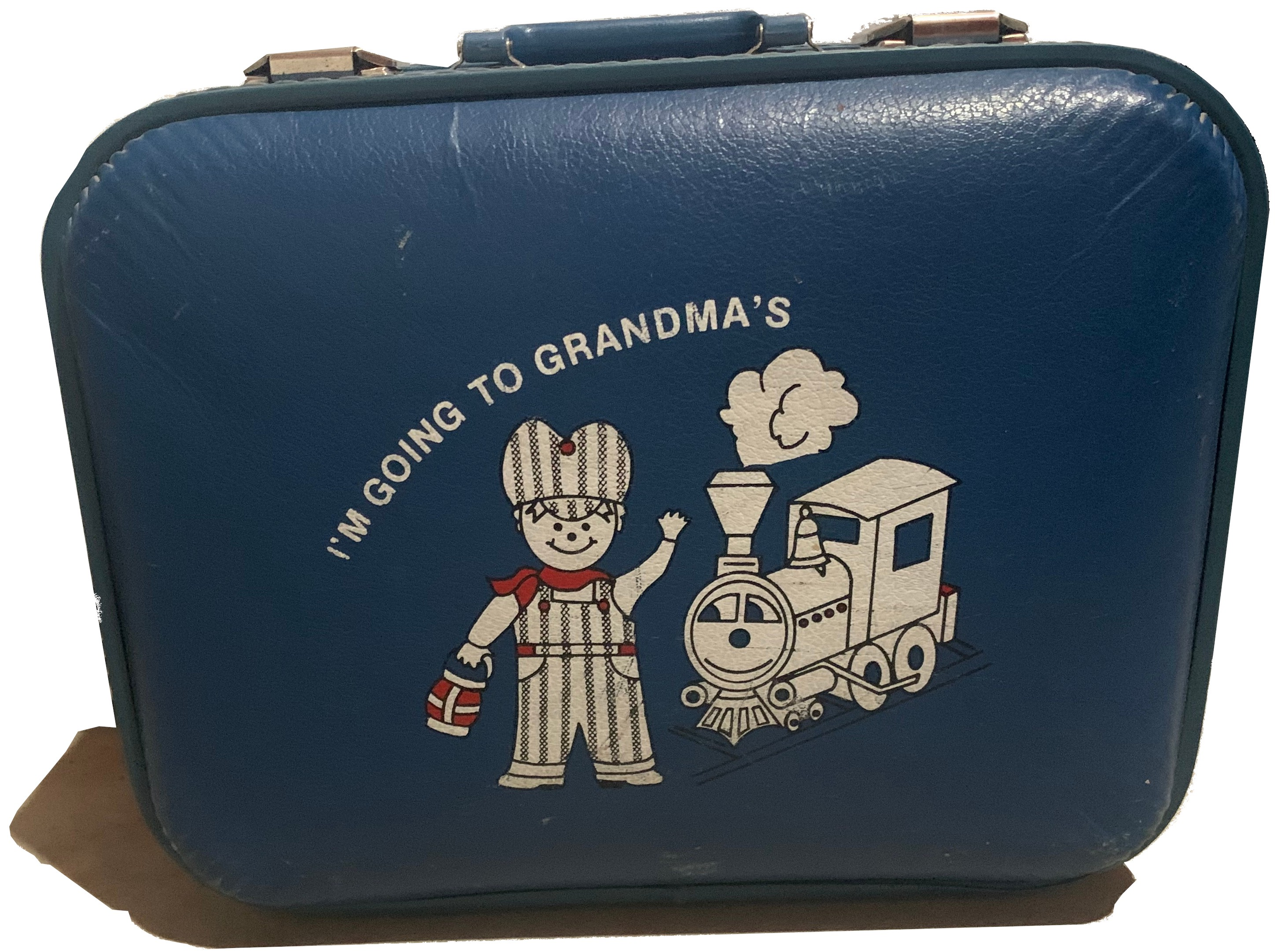 "A small, blue suitcase with ""I'm Going to Grandma's"" printed on the front."