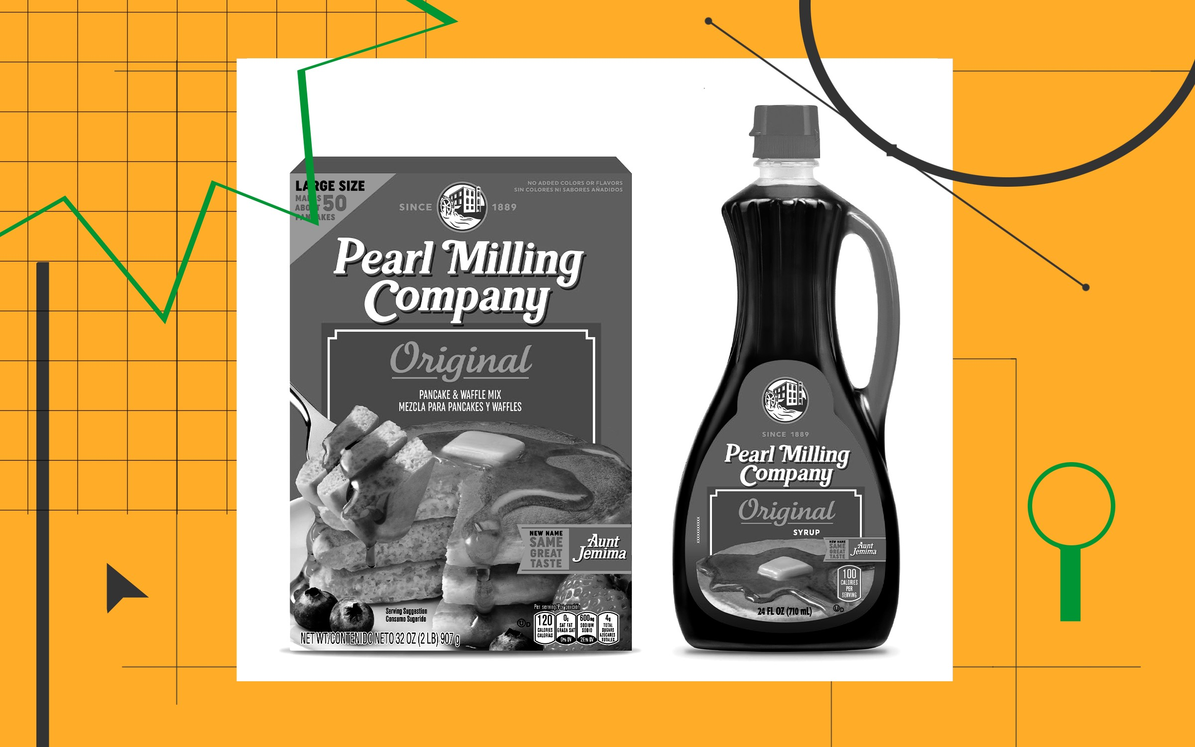 A photo illustration with different line textures around a box of Pearl Milling Company pancake mix and a bottle of its syrup.