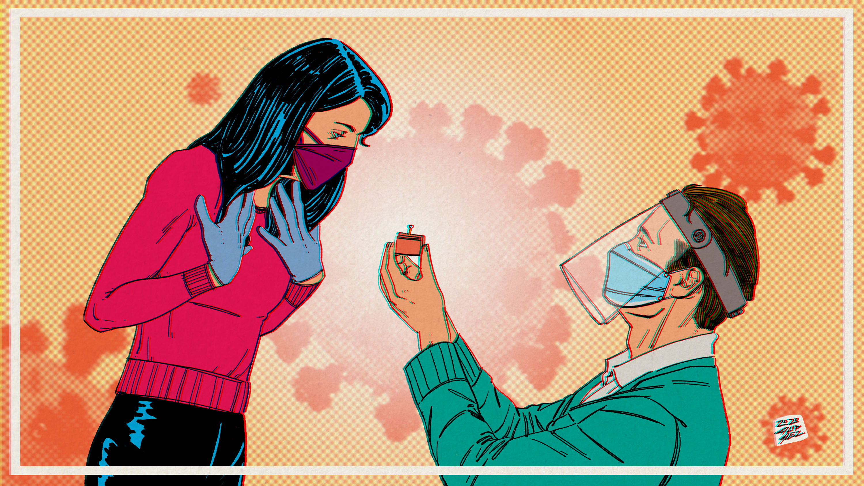 An illustration of a masked man in a face shield proposing to a masked woman.