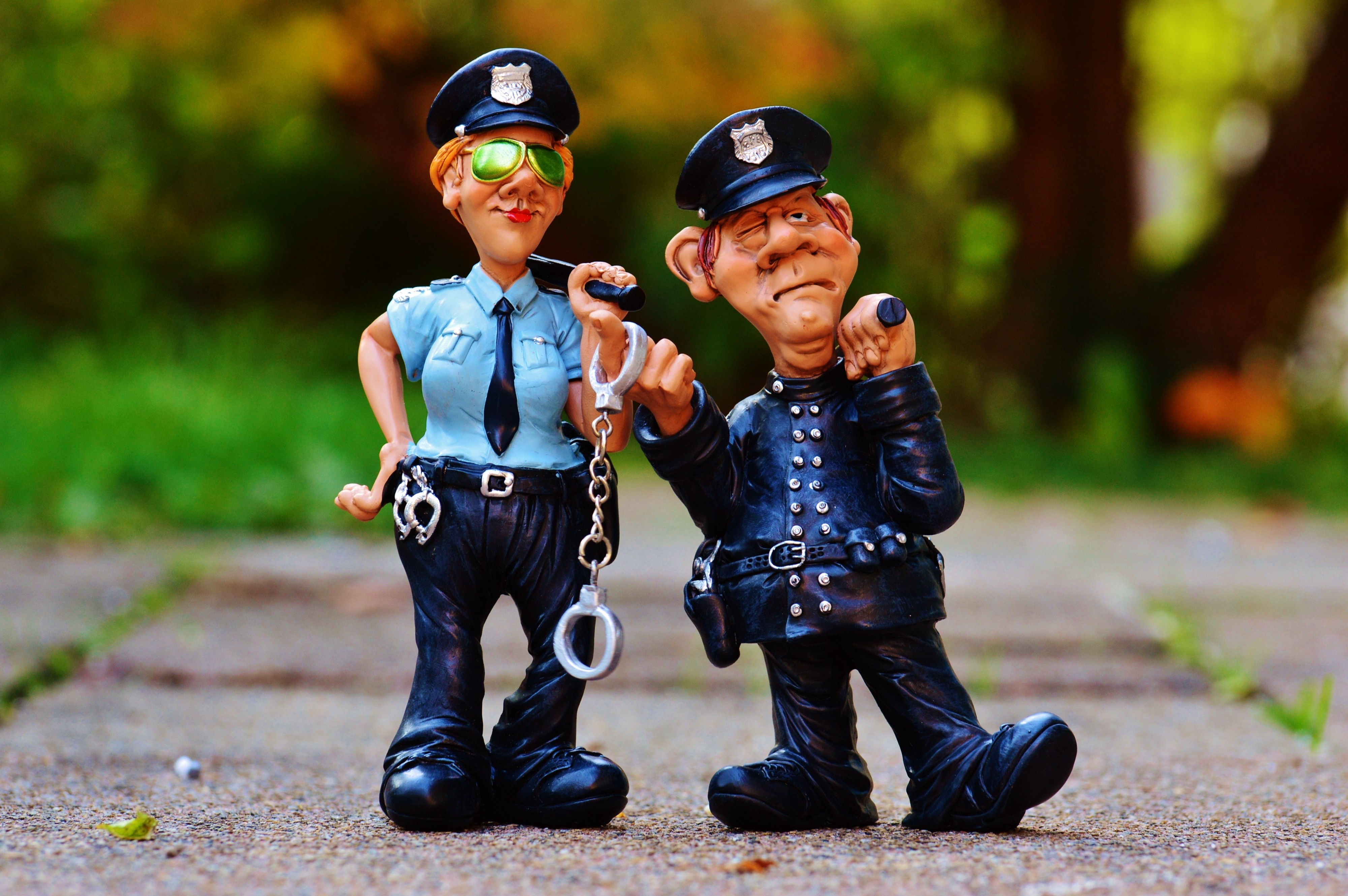 Police Man and Police Woman Plastic Toy
