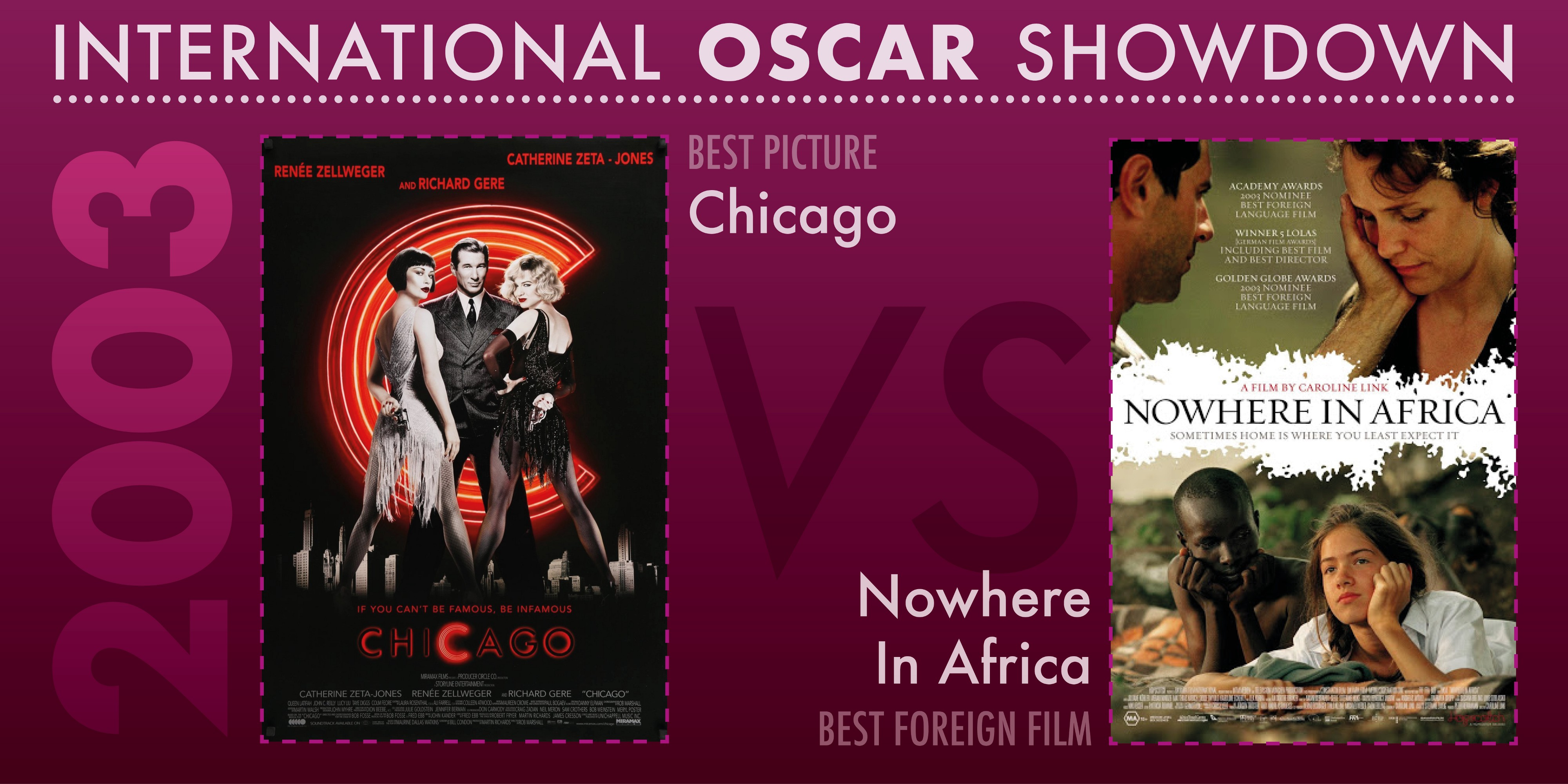 The 2003 International Oscar Showdown features Chicago versus Nowhere In Africa