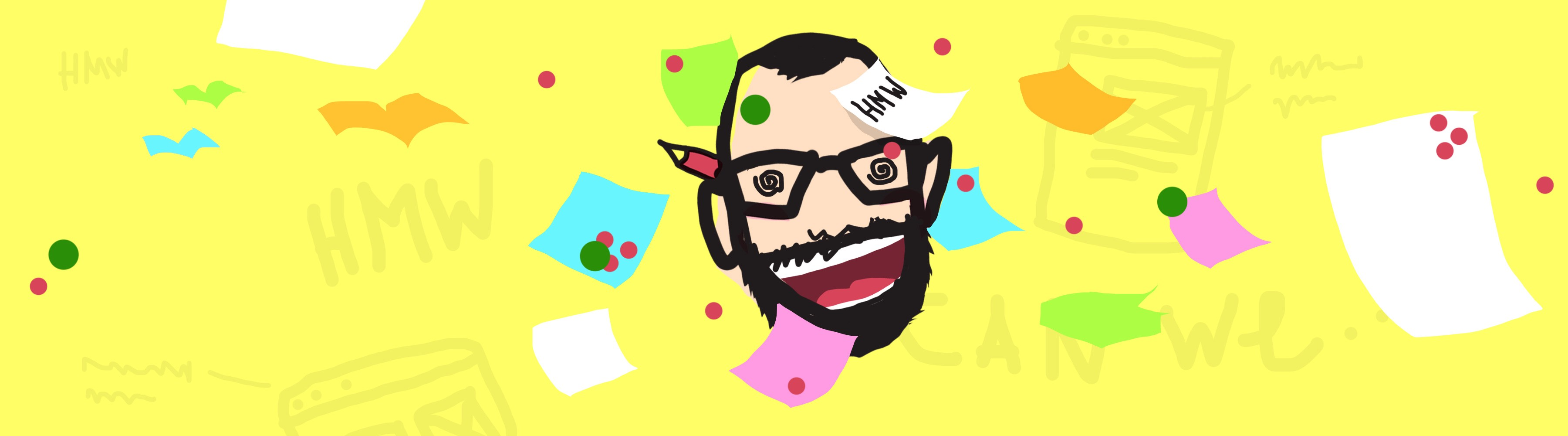 Badly drawn illustration of a super hyped floating head with sticky notes flying around