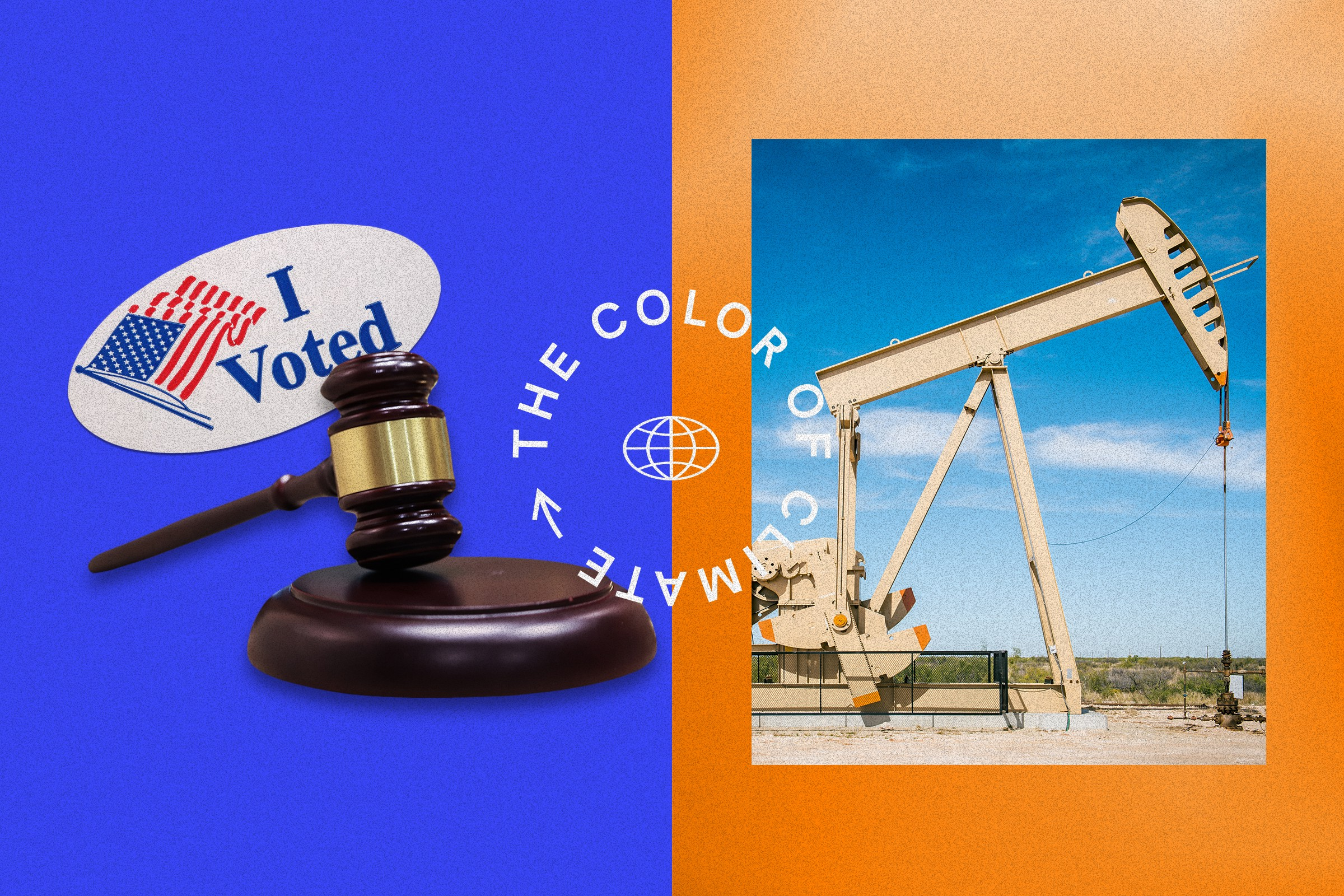 """The text """"The Color of Climate"""" is illustrated in a circle pattern  around a globe icon. Behind the text there are two images side-by-side—on the left is a gavel and an """"I Voted"""" sticker, and on the right is an oil drilling machine."""