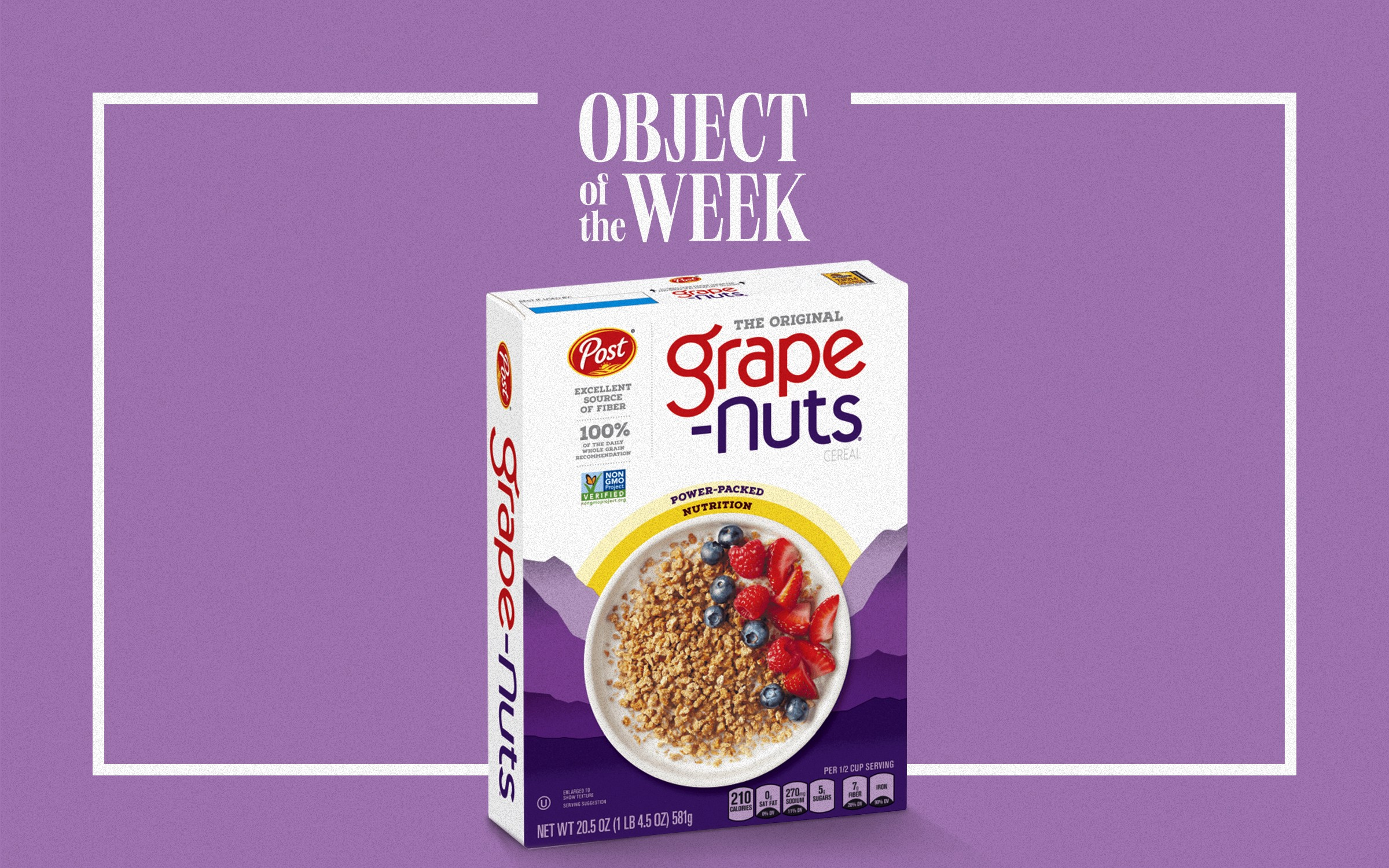 """A Grape-Nuts cereal box photoshopped onto a purple background with the text """"Object of the Week"""" and a square frame surrounding the cereal box."""