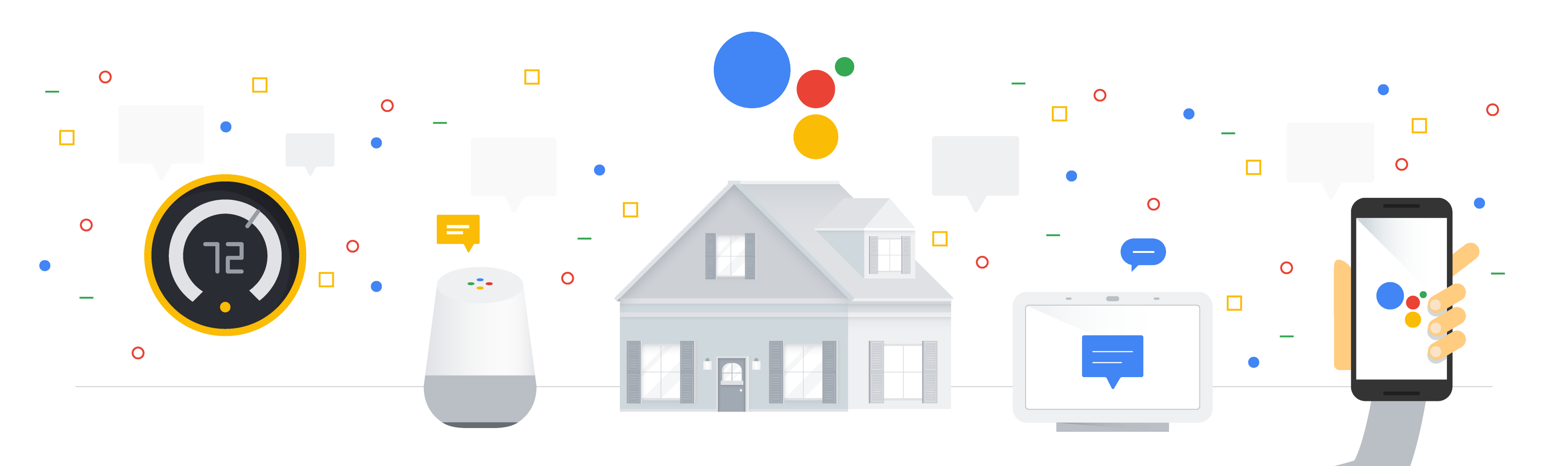Illustration of a home with the Smart Home technology and other tech symbols.