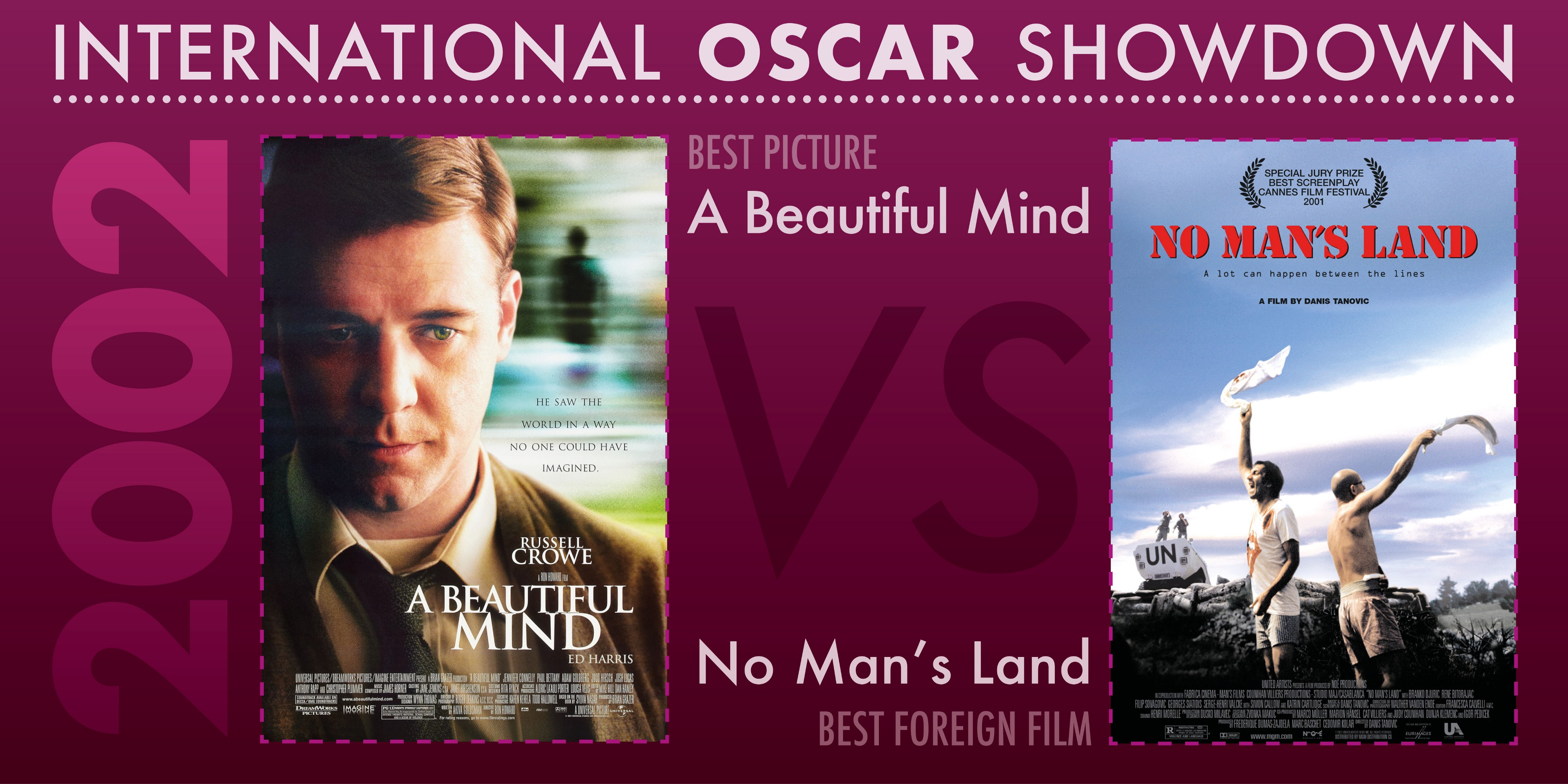 The 2002 International Oscar Showdown features A Beautiful Mind versus No Man's Land