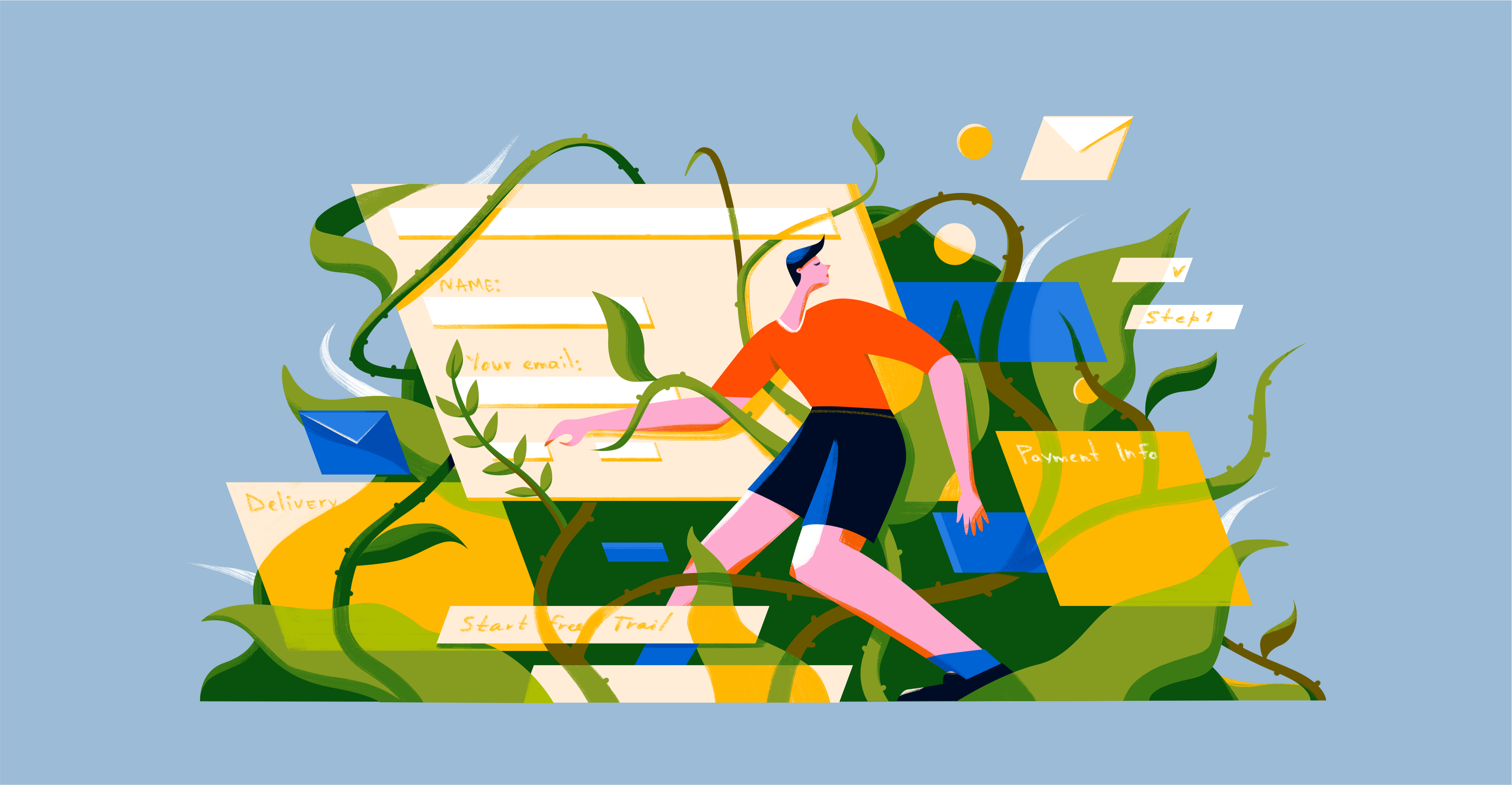 A man in a red T-shirt and black shorts fills out the form. Geometric elements and green plants are all around.