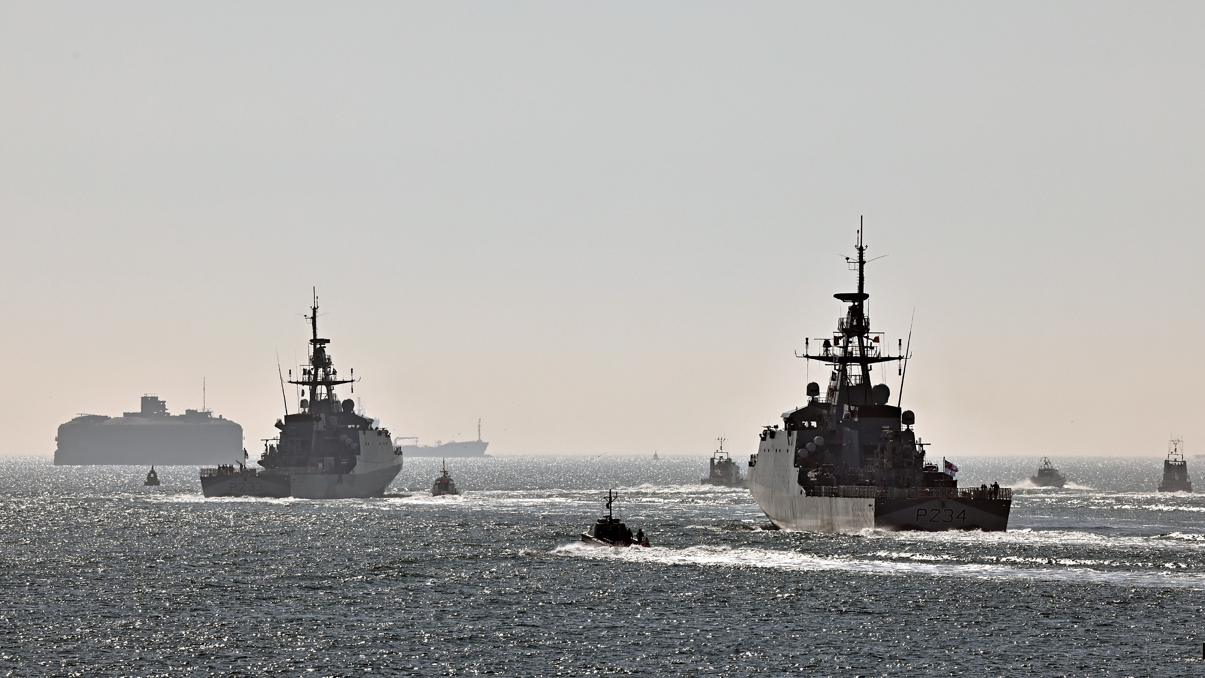 From left to right: HMS Tamar and HMS Spey.