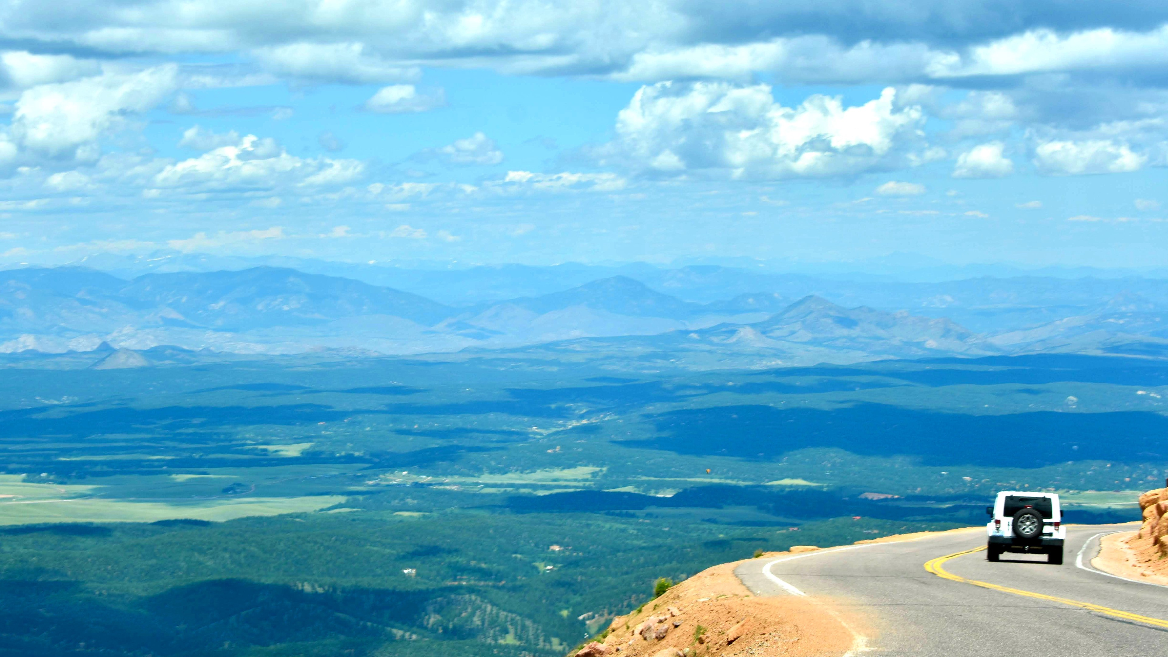 Photo: a view from the road on Pike's Peak mountain in Colorado.
