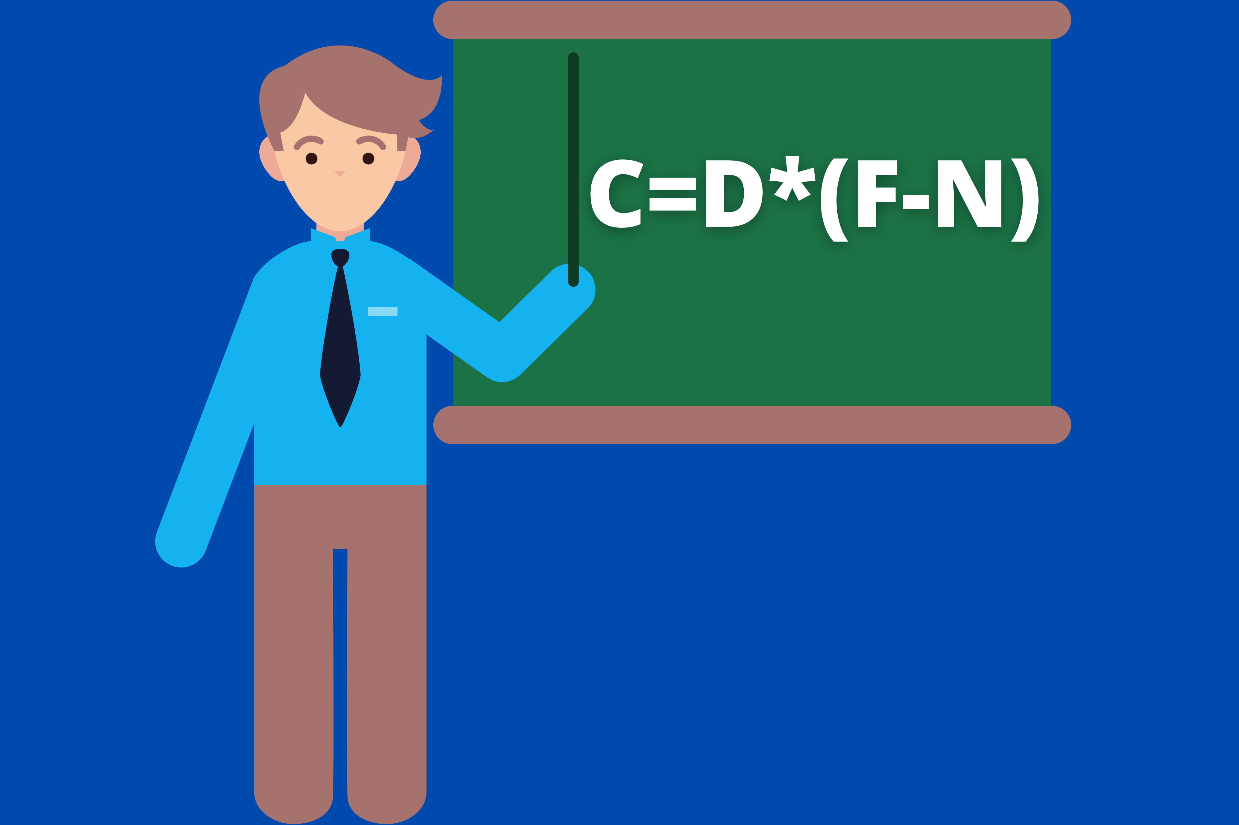 An animated teacher points to a board with the formula for celsius.