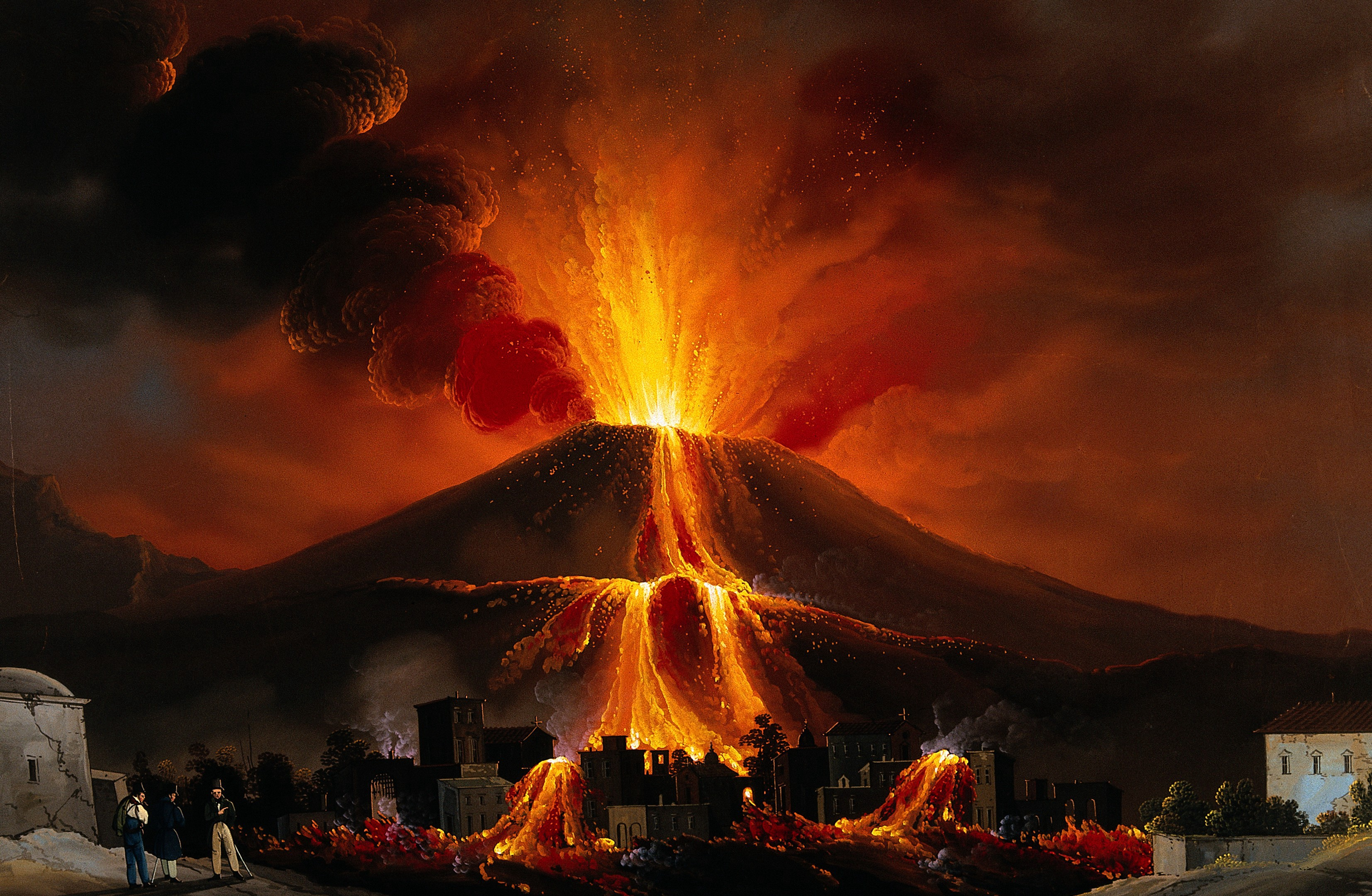 A painting of a volcano erupting over a town below