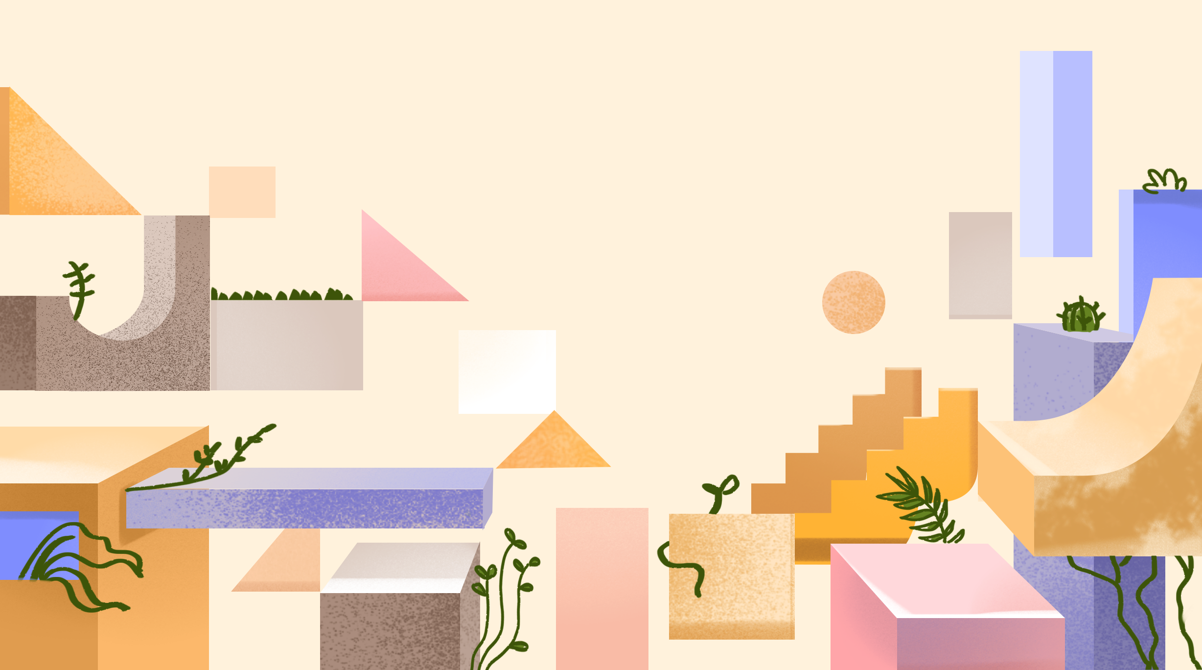 Various geometric shapes in pastel colors with green plants on a light background.