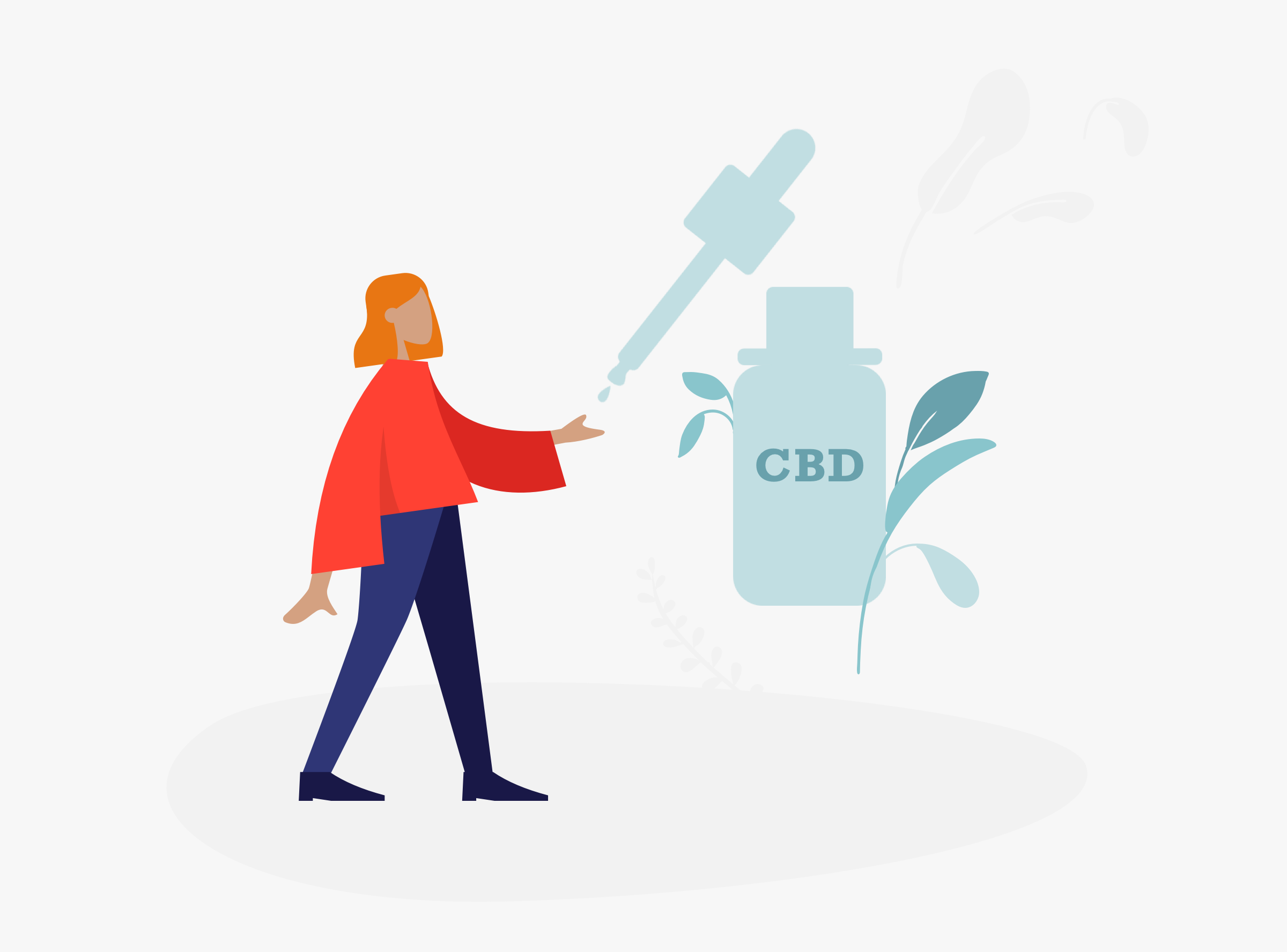 Illustration showing CBD oil bottle pippet dropping CBD oil into someones hand