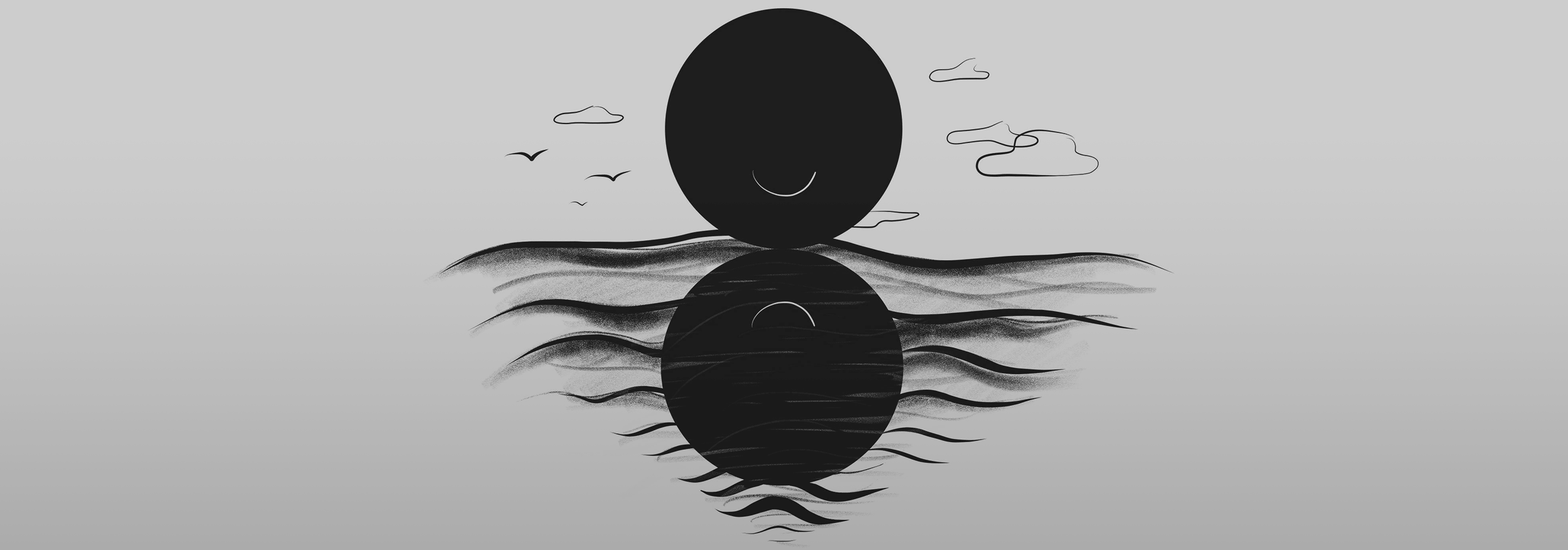 Illustration of two circles, one above water with an upturned smile, the other a reflection in waves with a down-turned smile