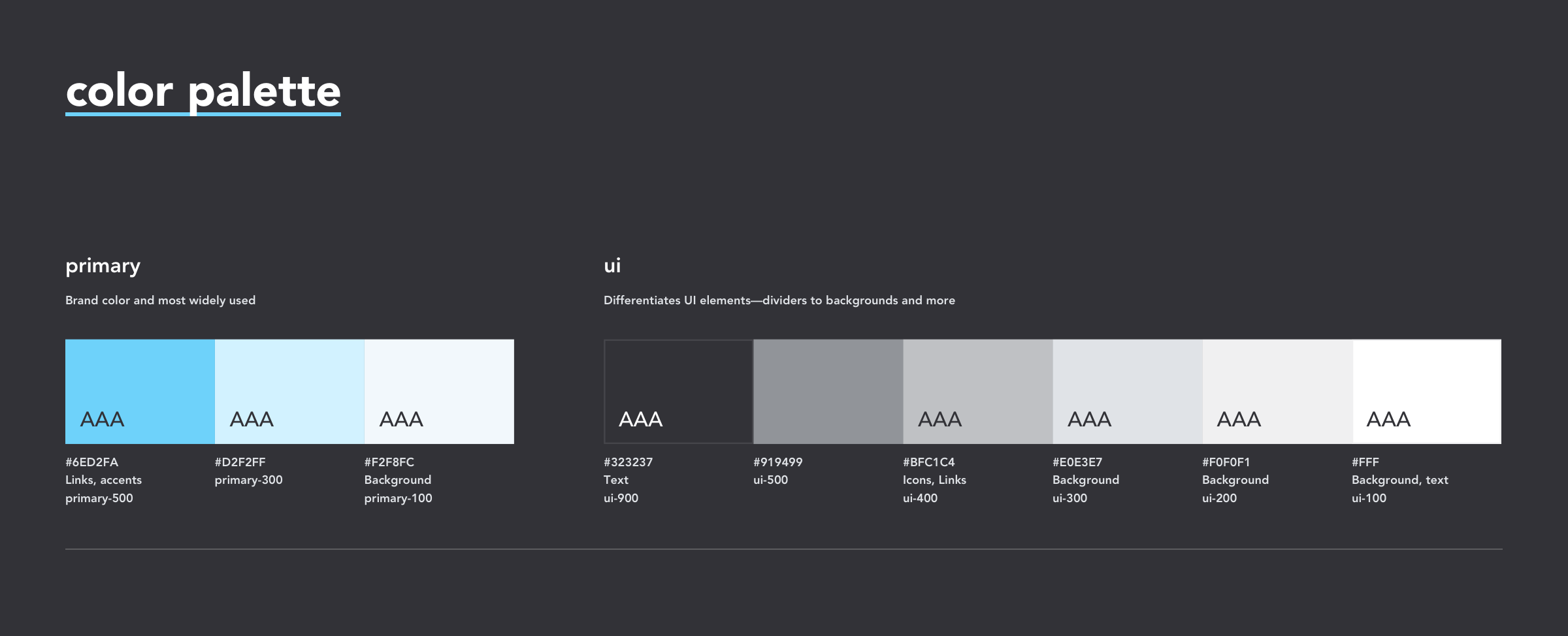 Our Ethos color palette, highlight primary and ui categories with their new naming conventions