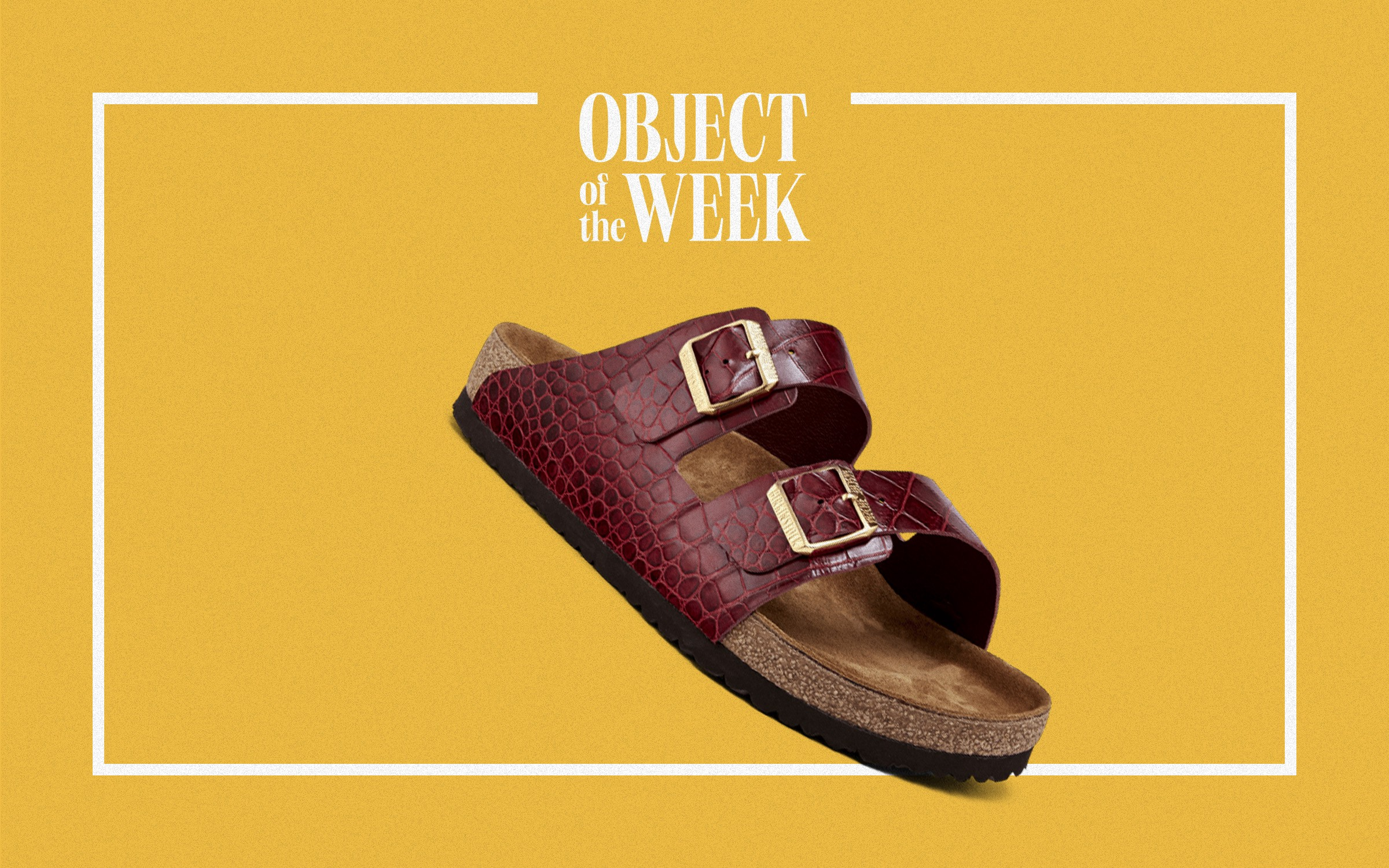 """A Birkinstock sandal, with the straps made of recycled Birkin bags, below the text """"Object of the Week""""."""