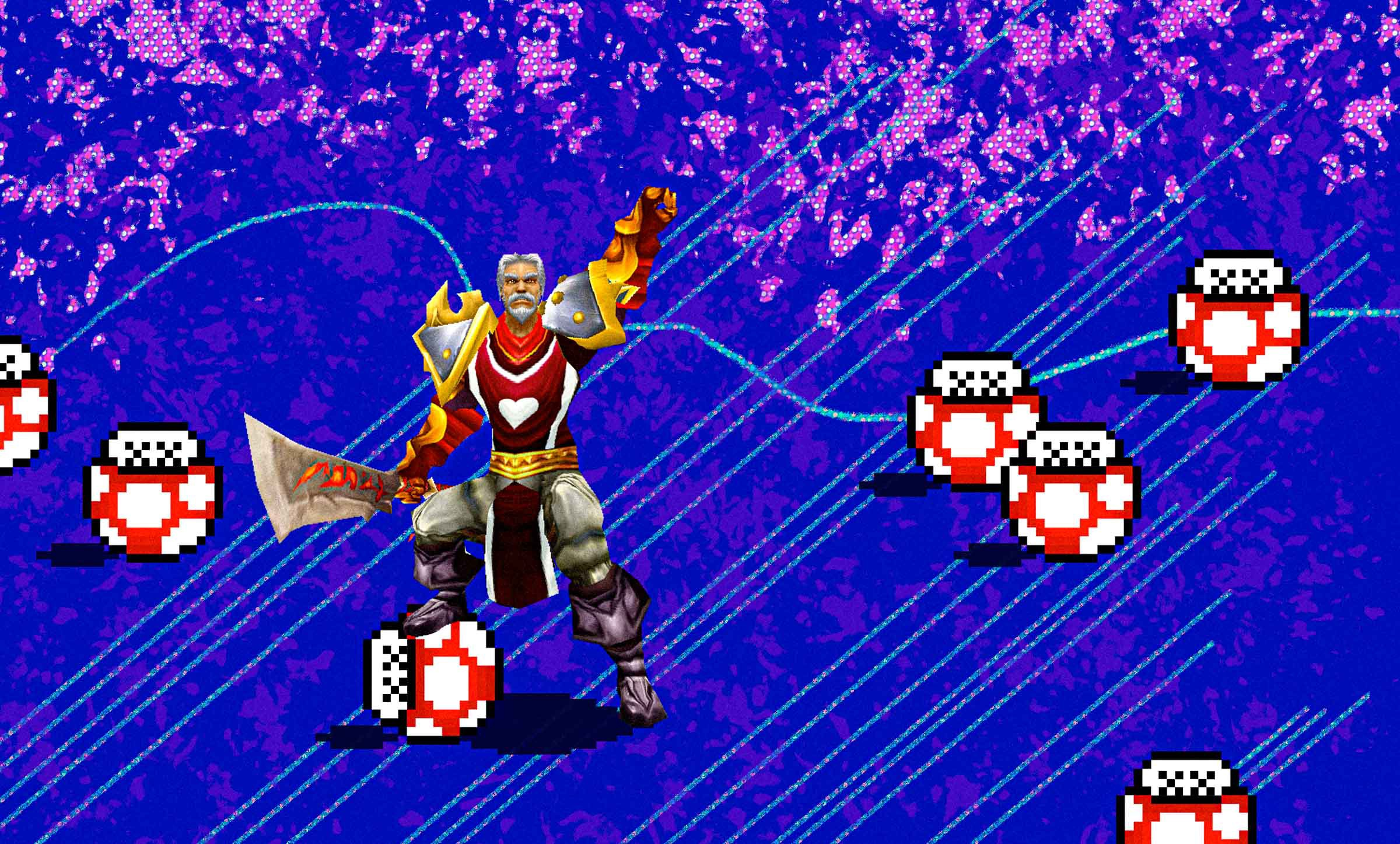 A video game character clad in armor holding up a hand in victory while one foot rests on one of many animated mushrooms reminiscent of Mario video games. The outline of a mountain appears over a bright blue background.