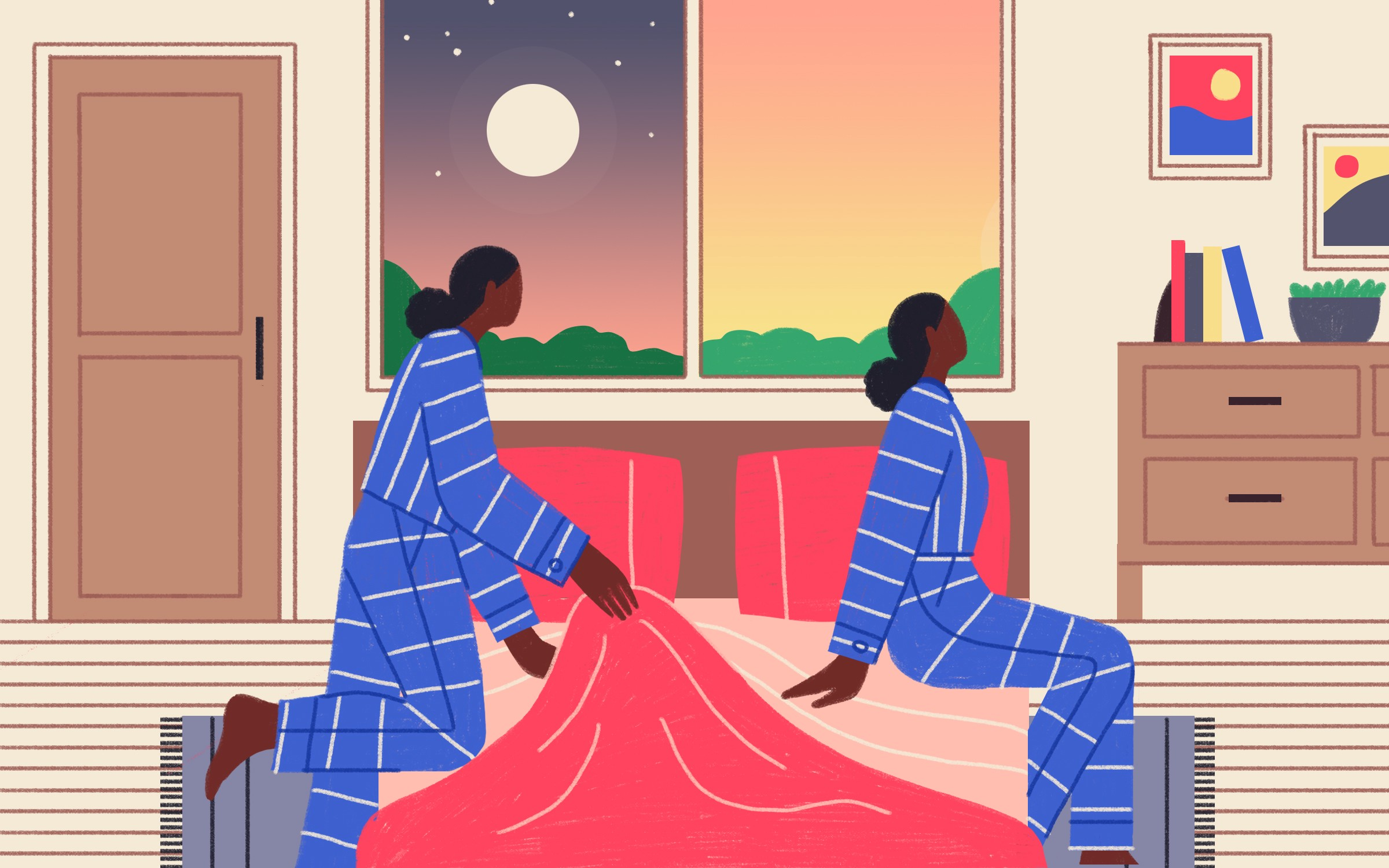 Illustration of a woman getting into bed at night and getting up n the morning.
