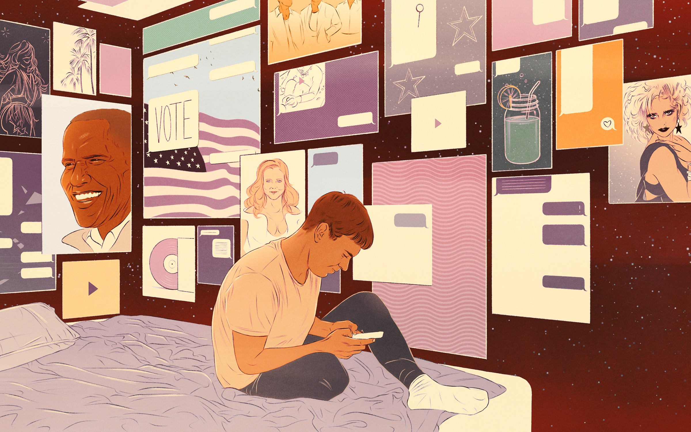 Illustration of boy sitting on his bed looking at his phone. A wall of posters featuring an American flag, celebrities, stars, and drinks are behind him.
