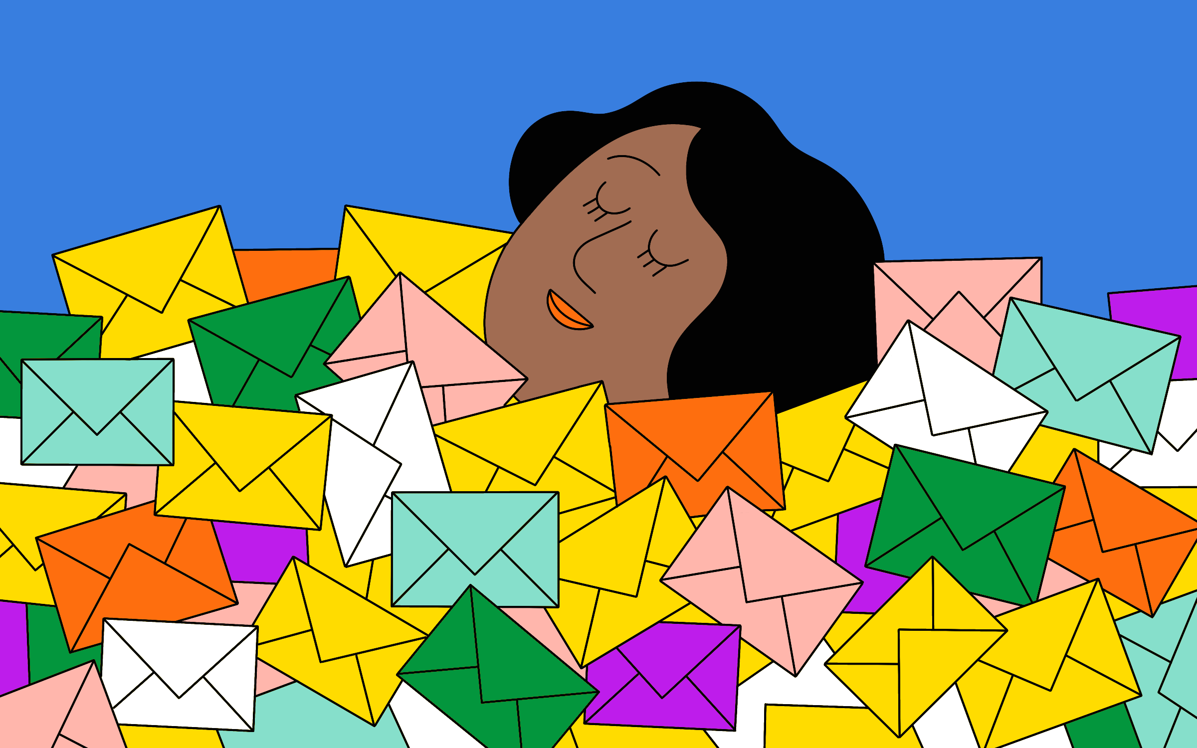 An illustration of a woman looking perfectly content, while being buried in a ton of letters.