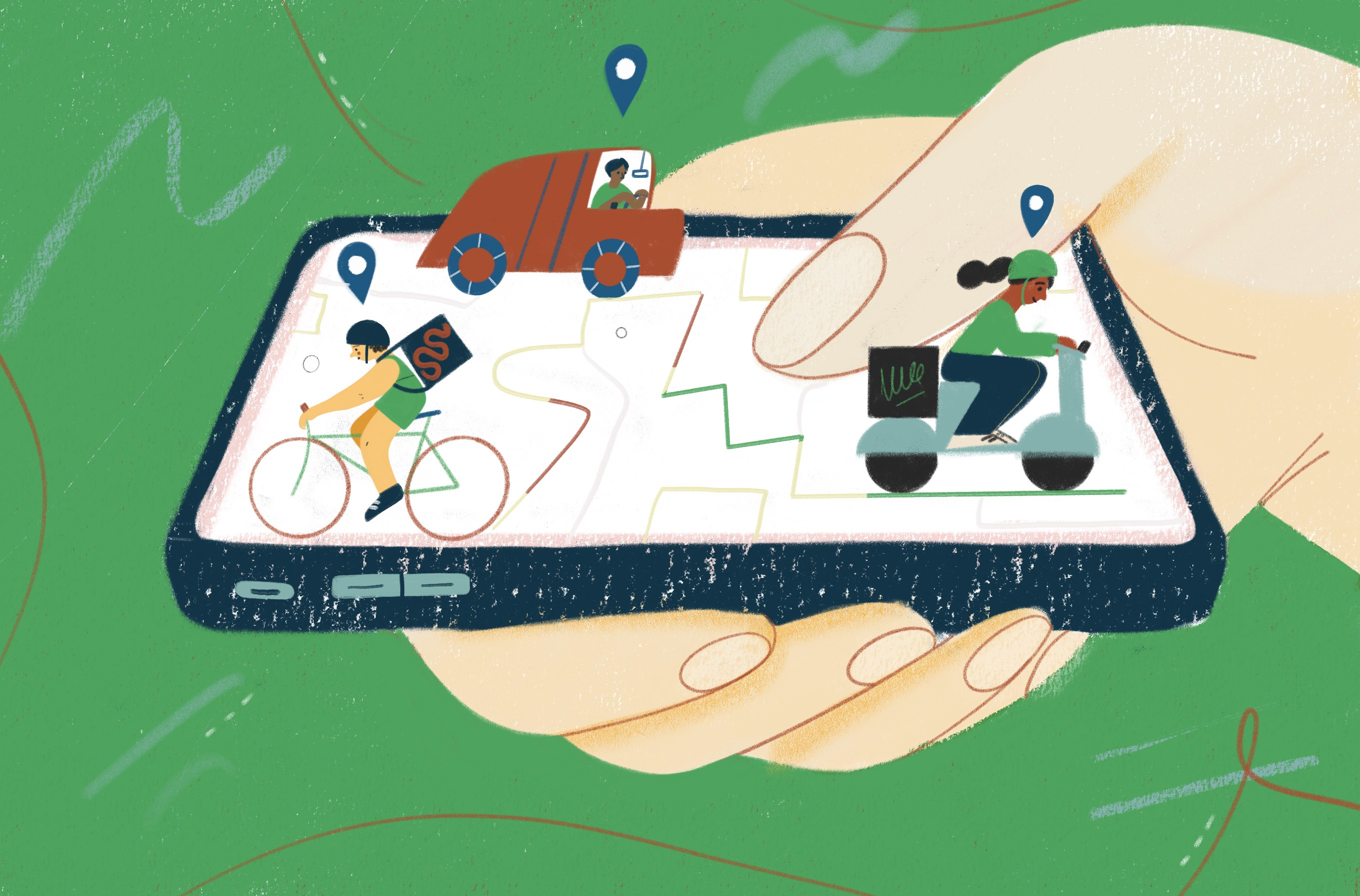Illustration of a smartphone in a hand, with various people driving vehicles around the digital routes