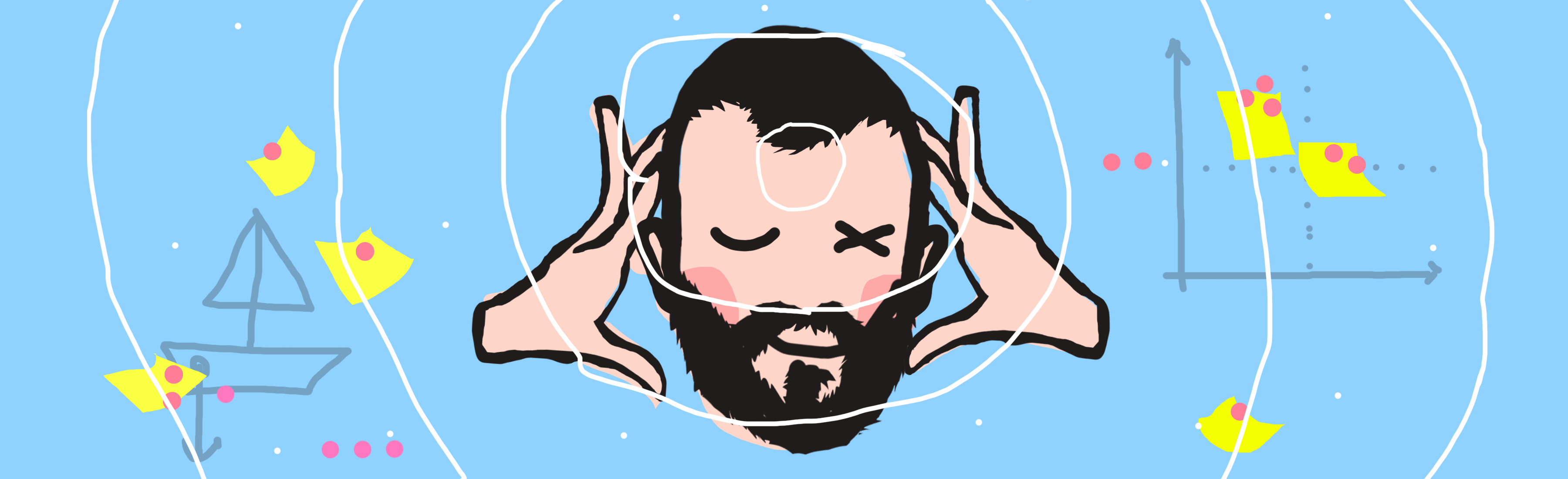 Badly drawn illustration of a floating head of a guy pretending to mind read