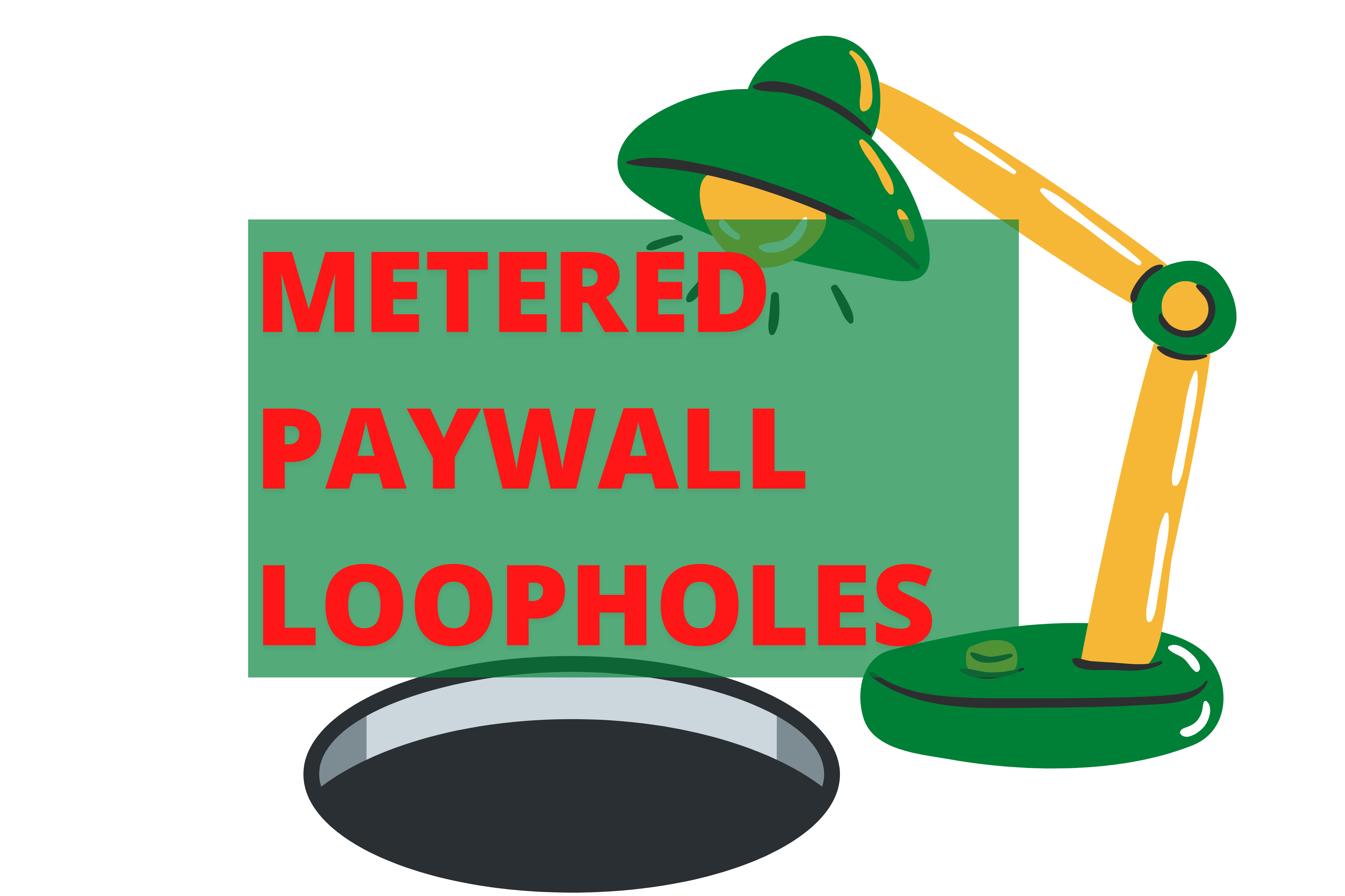 A big black hole and a green lamp, with the text medium paywall loopholes on a white background