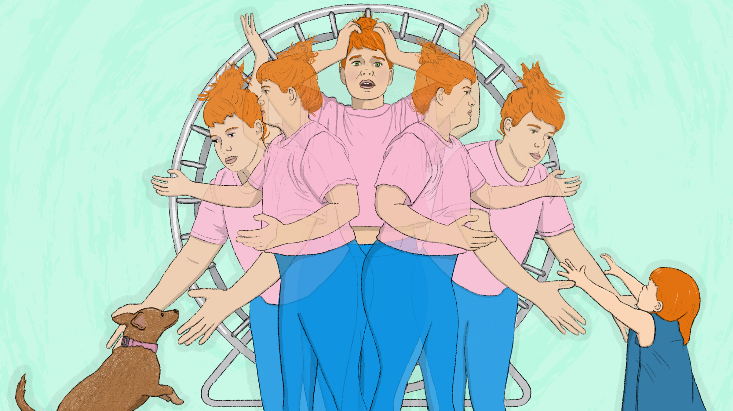 5 stages of a person holding their arms out to a puppy on the left side of the image, to standing straight with their hands on their head in the center, to holding their arms out to a toddler at the right side of the image. In the background is a huge metal hamster wheel.