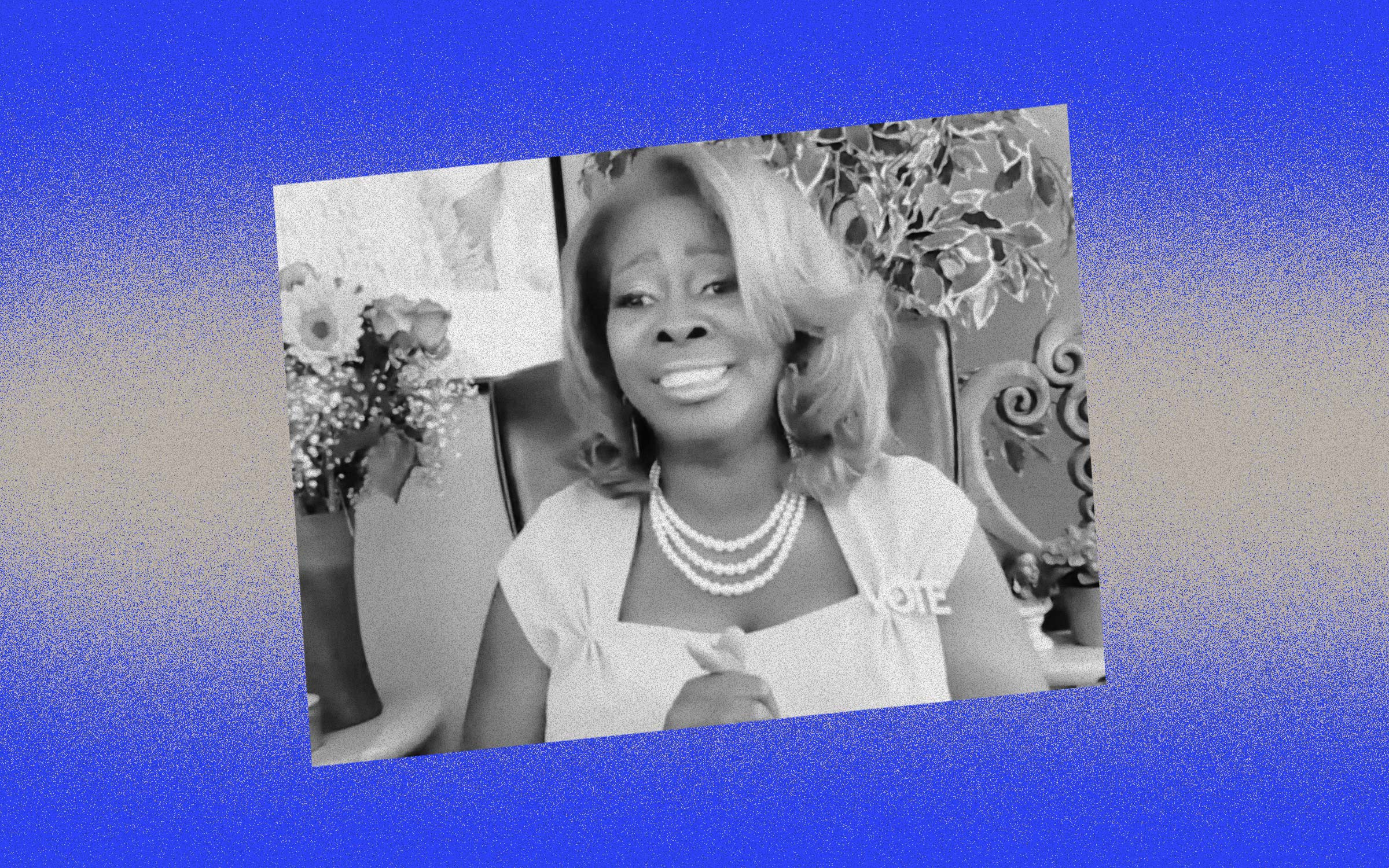 Black and white photo of LaTosha Brown against a blue and silver background.