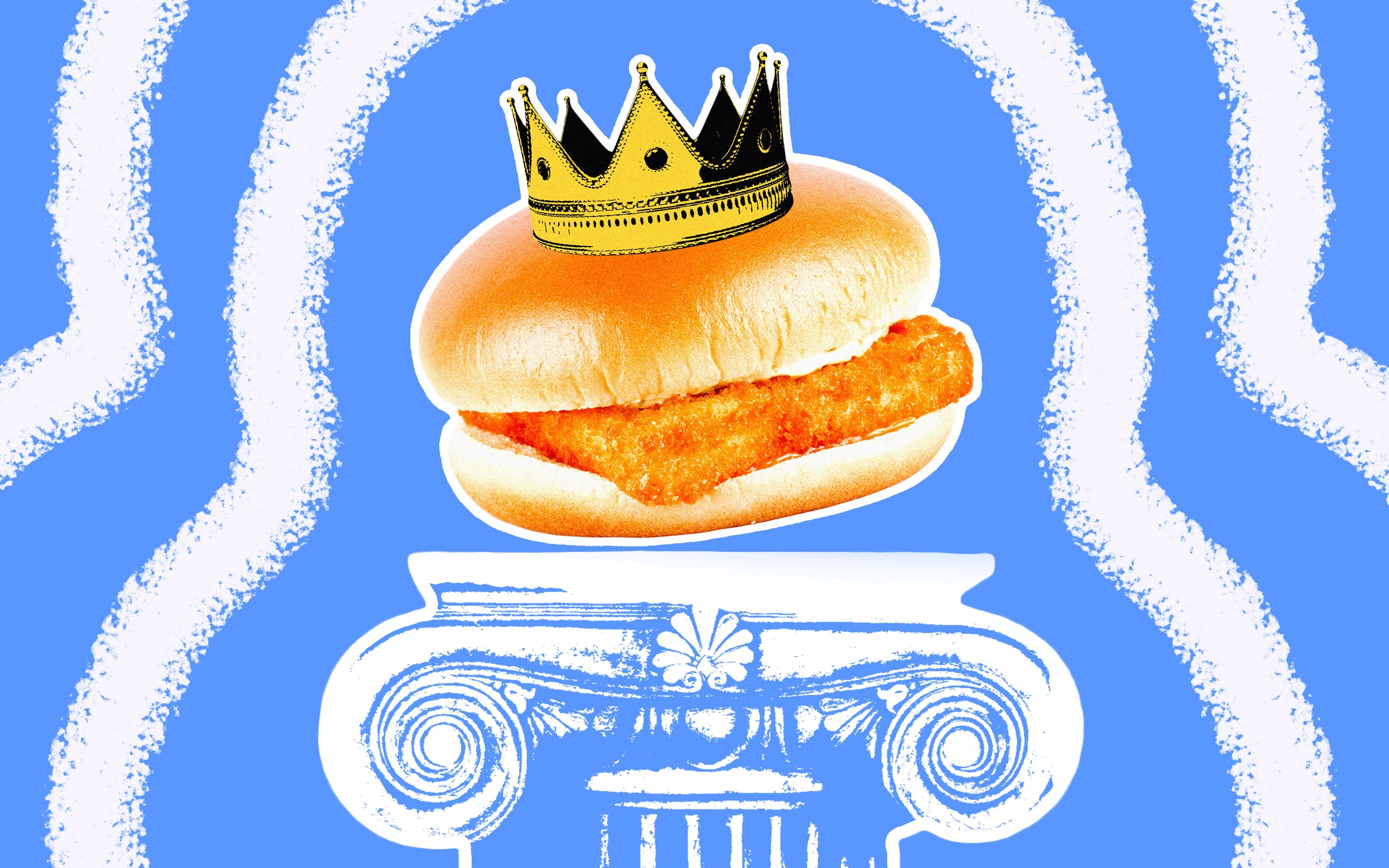 A photo illustration of a generic fish sandwich wearing a crown, placed on a pedestal.