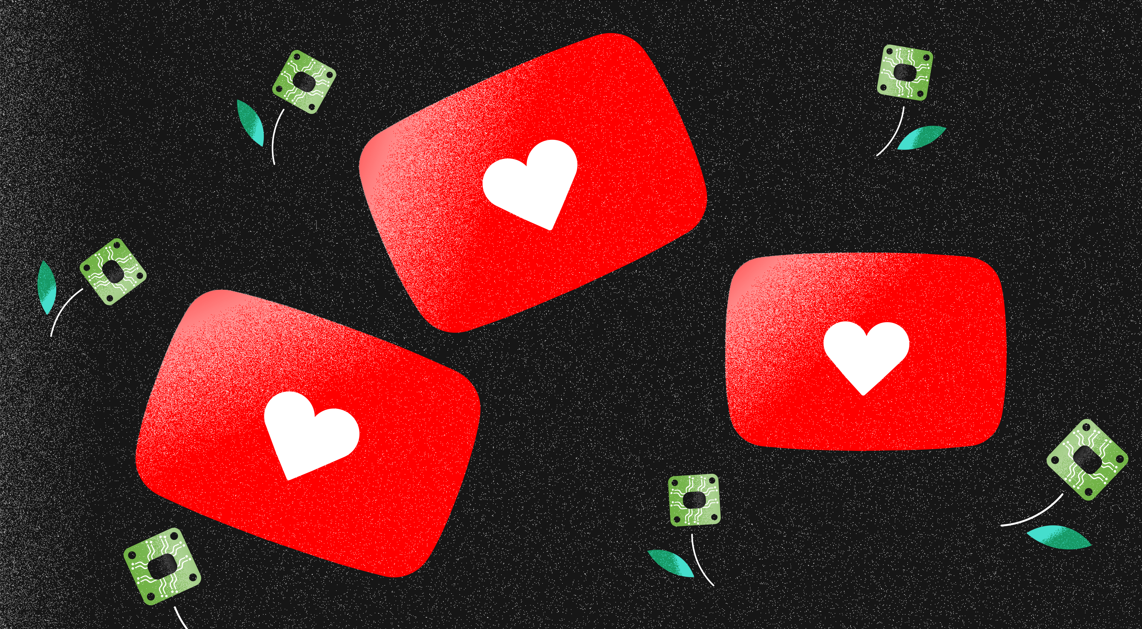 Youtube Logos with hearts in them and platines as flowers