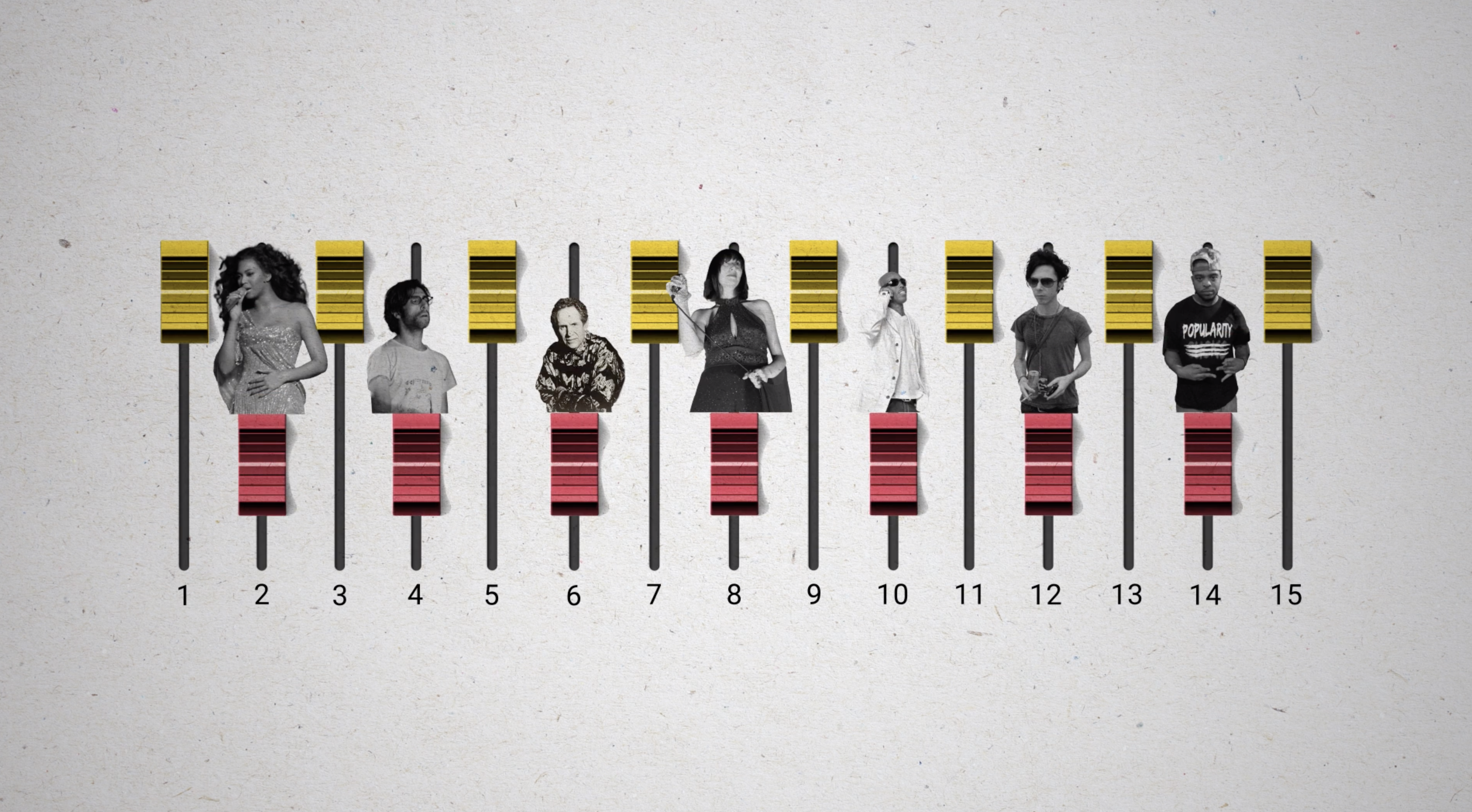 "An illustration made by graphic equalizer sliders with cut-out images of musicians pasted above every other one, representing their contributions to the writing of Beyoncé's song, ""Hold Up"""