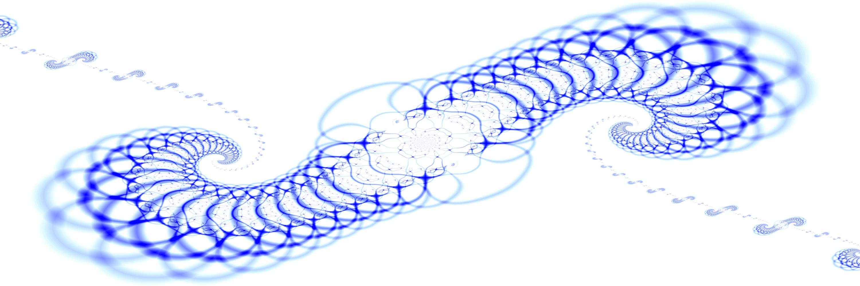 A blue fractal spirals outwards in two directions. Each arm reaches out to a sequence of scaled versions of the spiral.