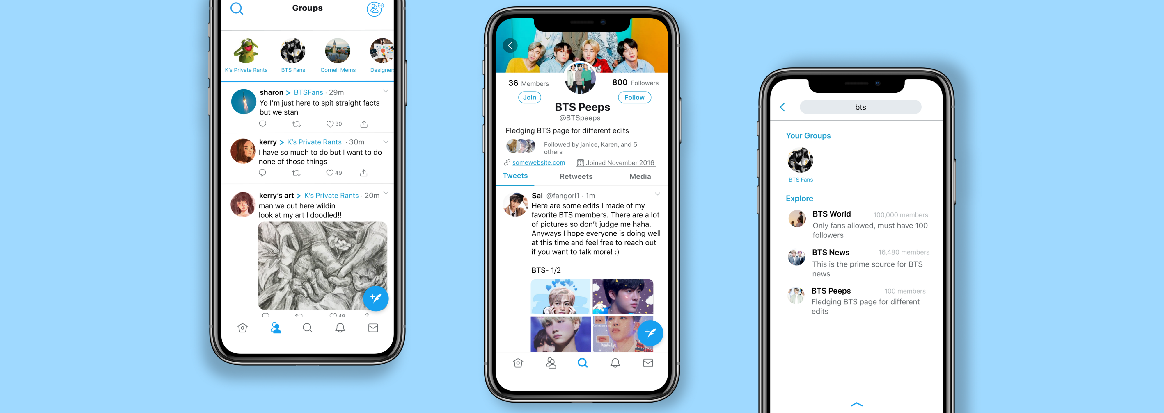 Three iphone screens, left is the home page for groups, center is the details for groups, and right is how to search groups