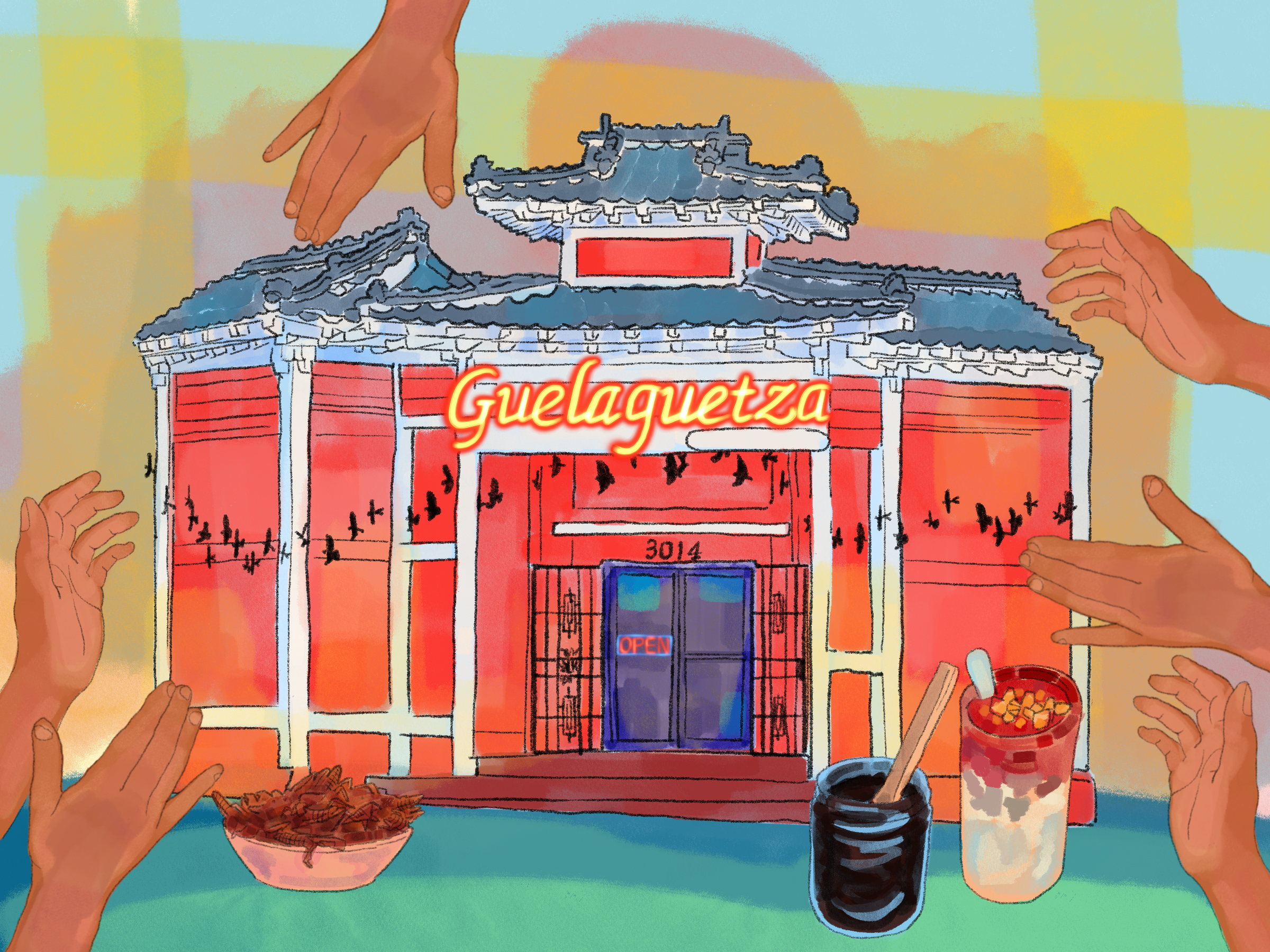 Illustration of the Guelaguetza restaurant, surrounded by brown-skinned hands.