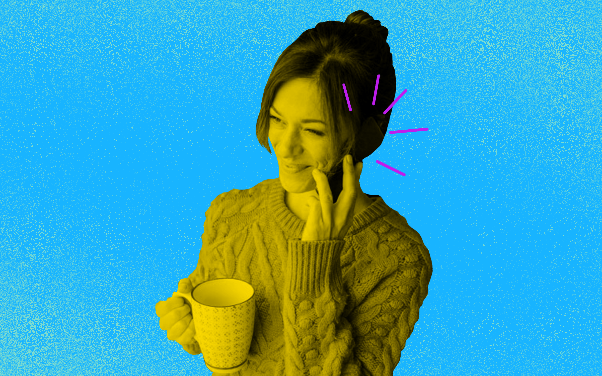 A photo illustration of a smiling woman on a phone call while holding a cup.