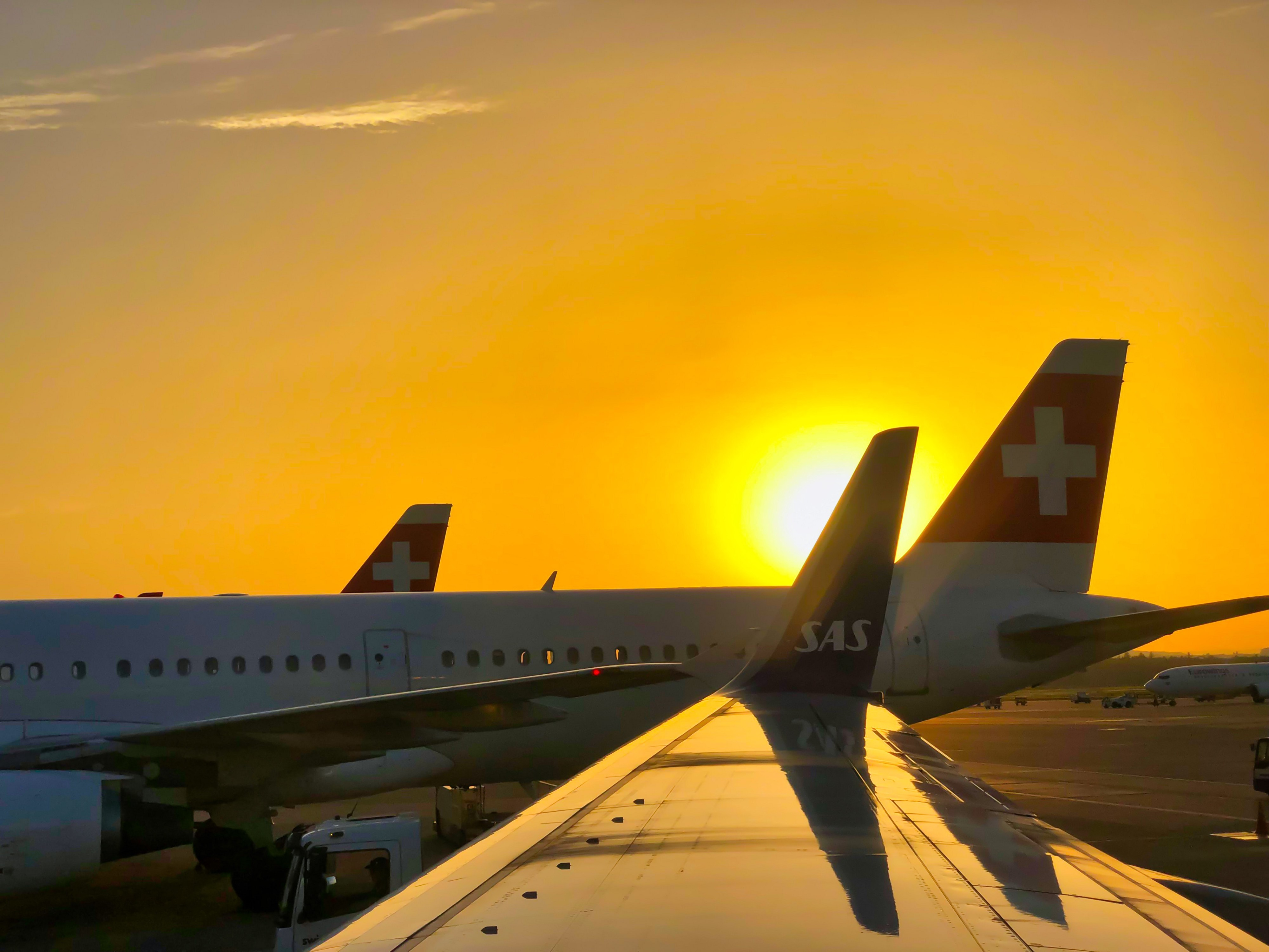 Landed aircrafts at an airport with a beautiful orange sunset color behind those tails.