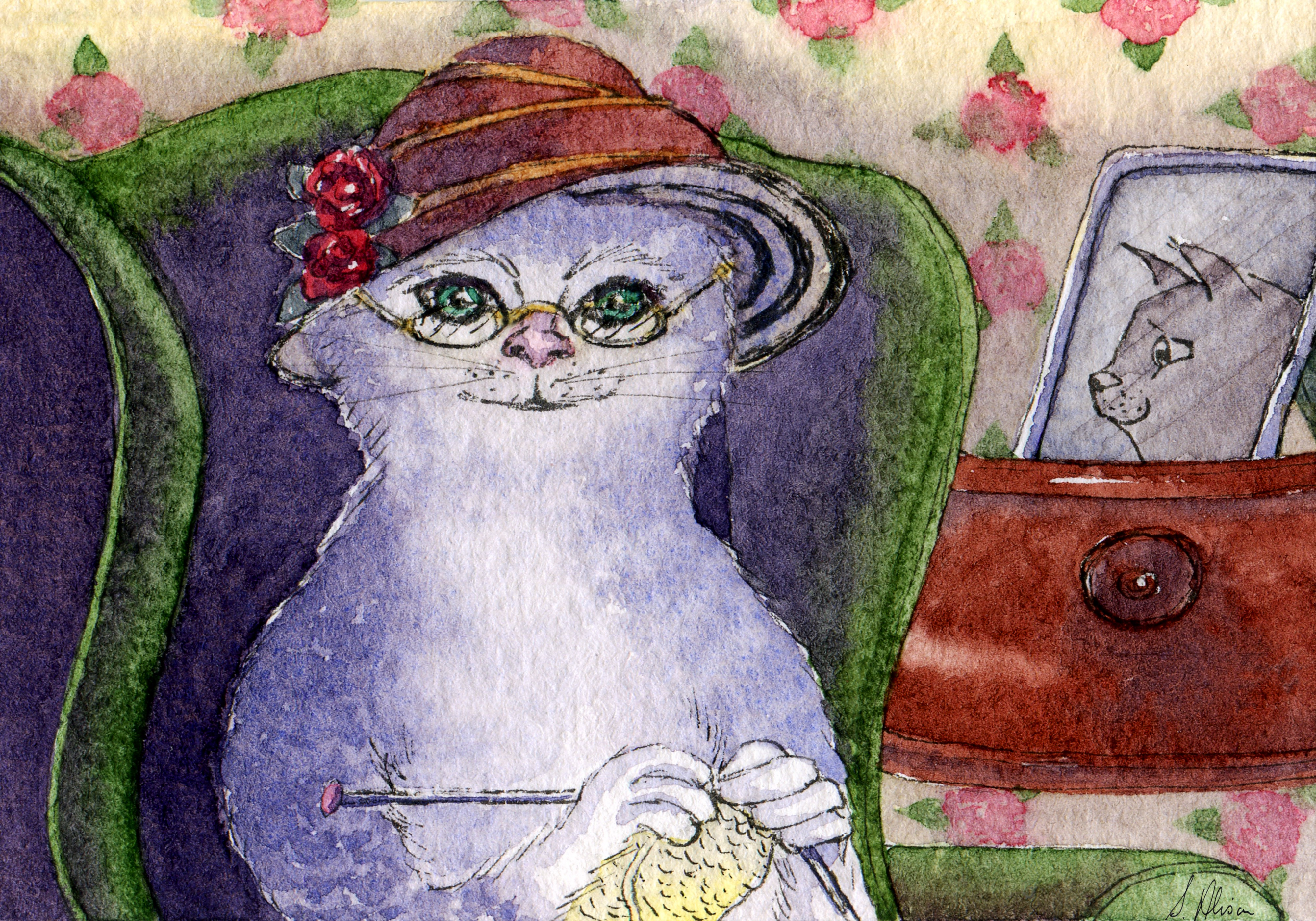 A cat in a hat sits and knits.