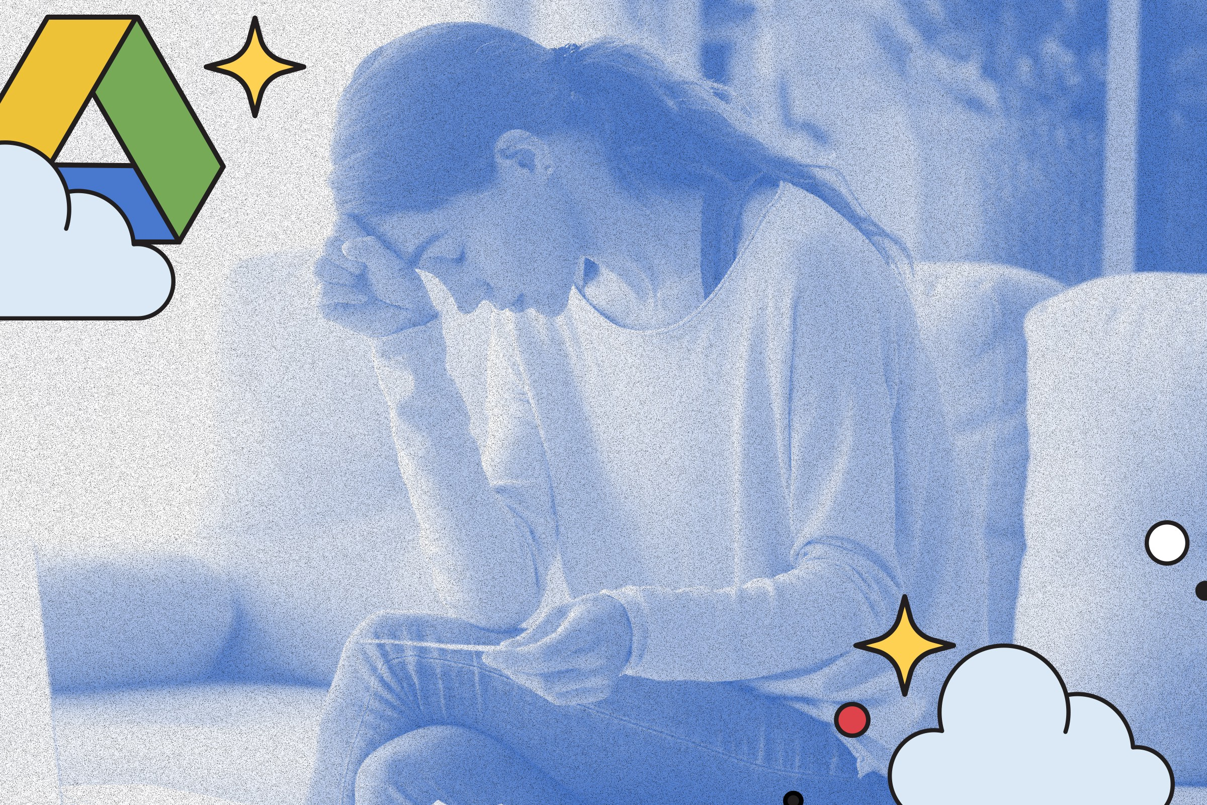 Light blue filtered photo of woman upset sitting on the couch with Google Drive icons with cloud and sparkles in foreground.