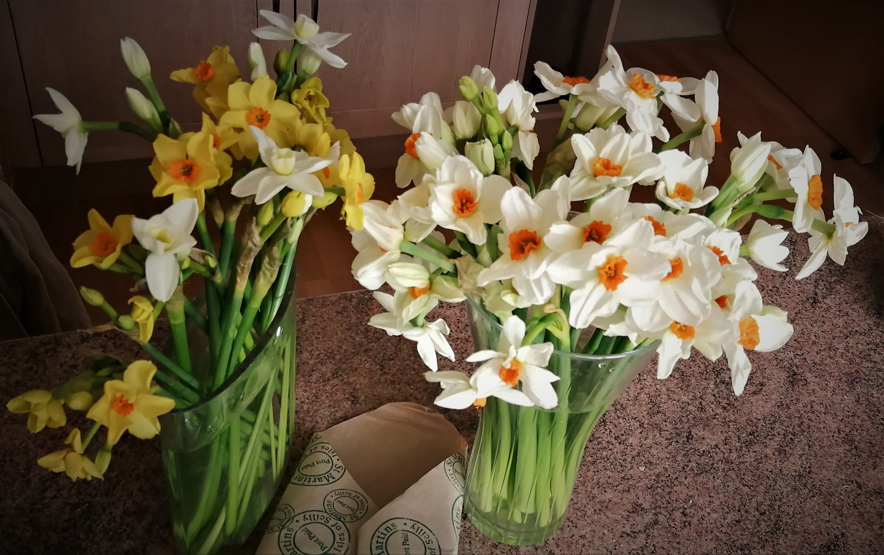Cut flowers: narcissi in a vases