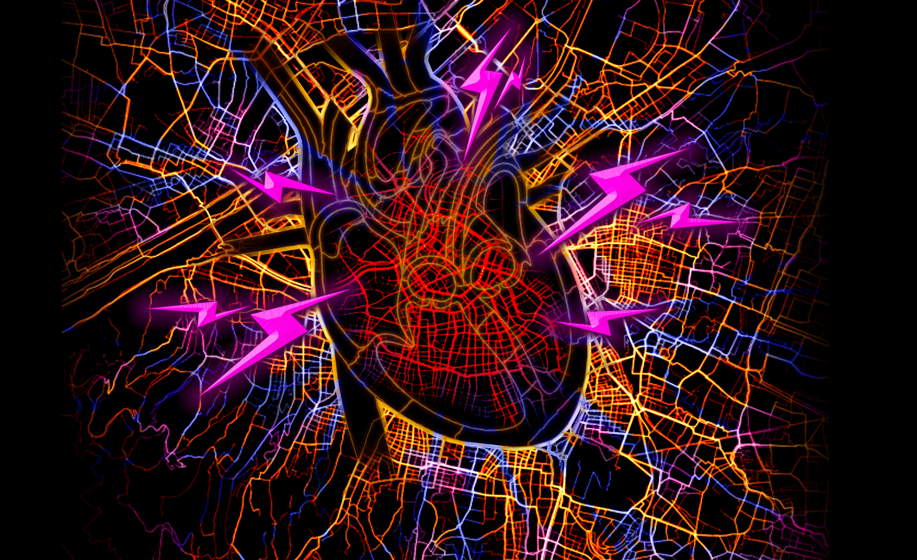 A city roadway heat map with an impression of a human heart in the centre. Electric bolts surround the heart.