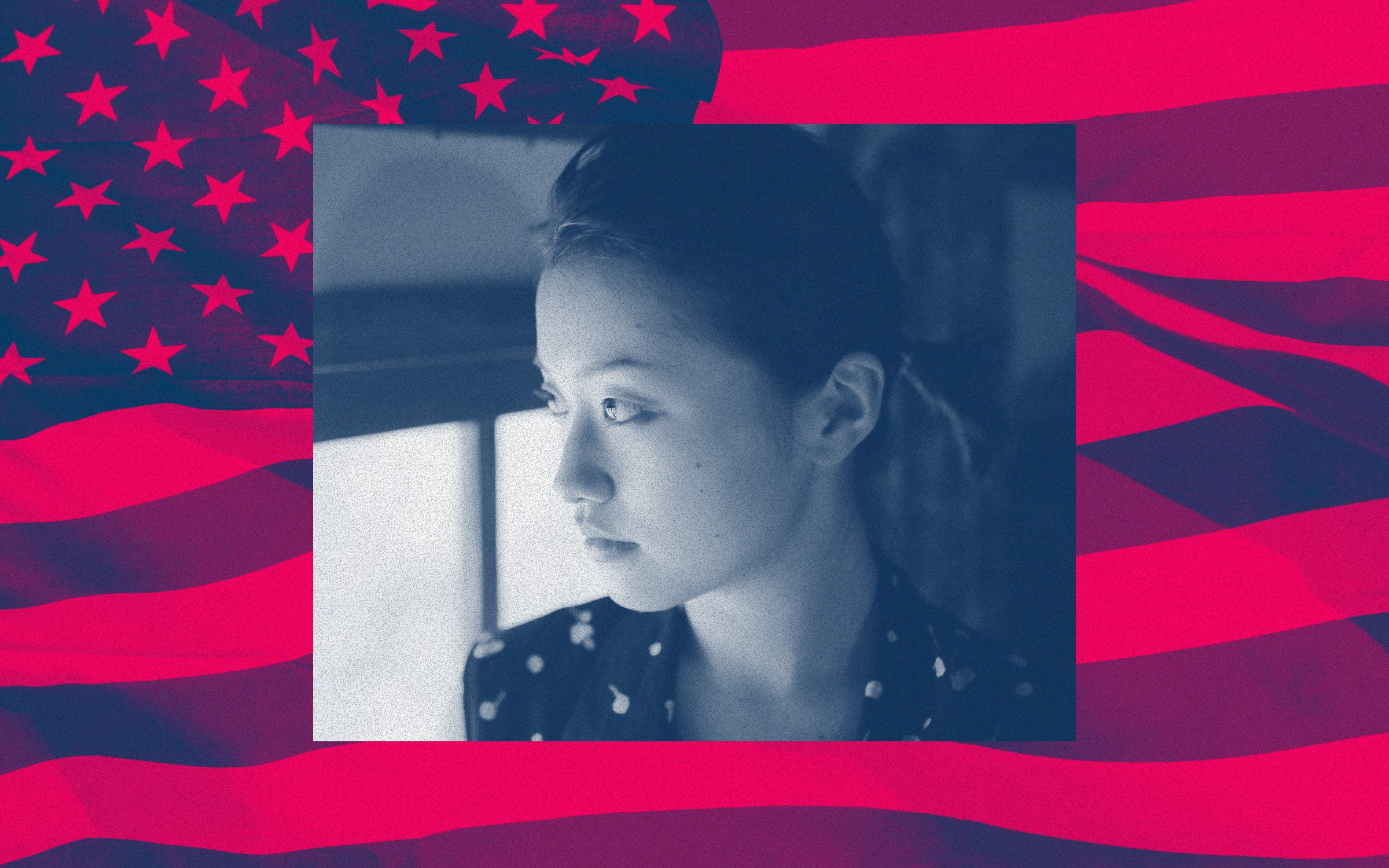 Closeup of an Asian woman's face against a filtered American flag background.