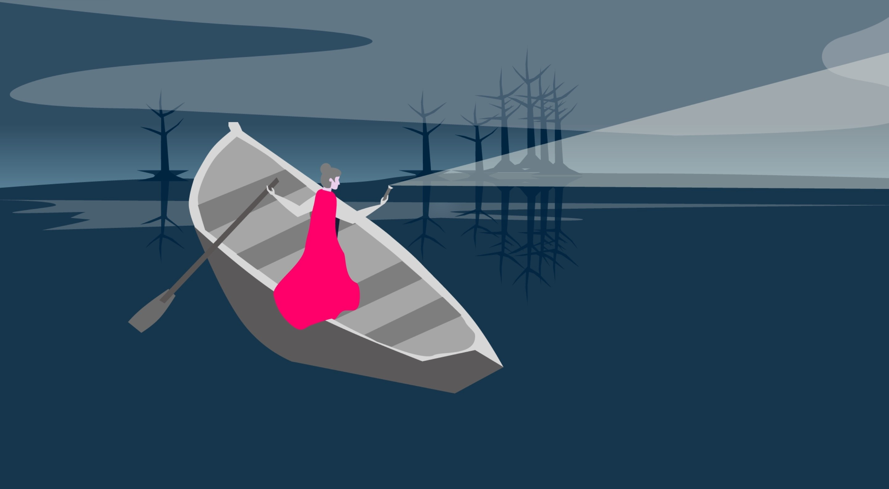 A lady in a pink cape stands on a boat in the middle of a dark lake. She shines a torch into the distance