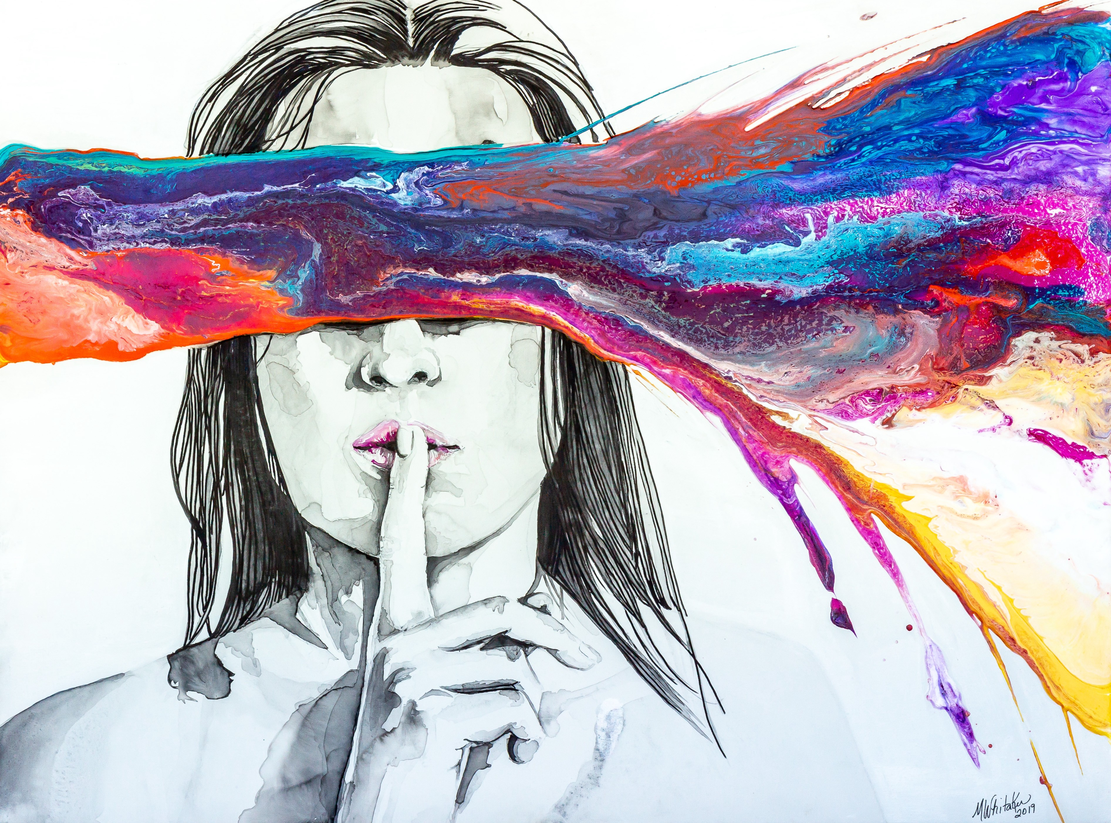 Black and white illustration of a woman holding index finger to her lips & a splash of multiple colors streaks over her eyes