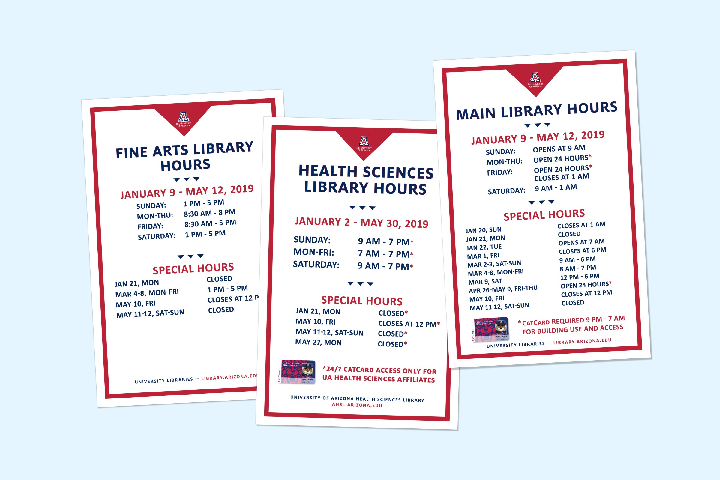 Hours signs used on the library doors